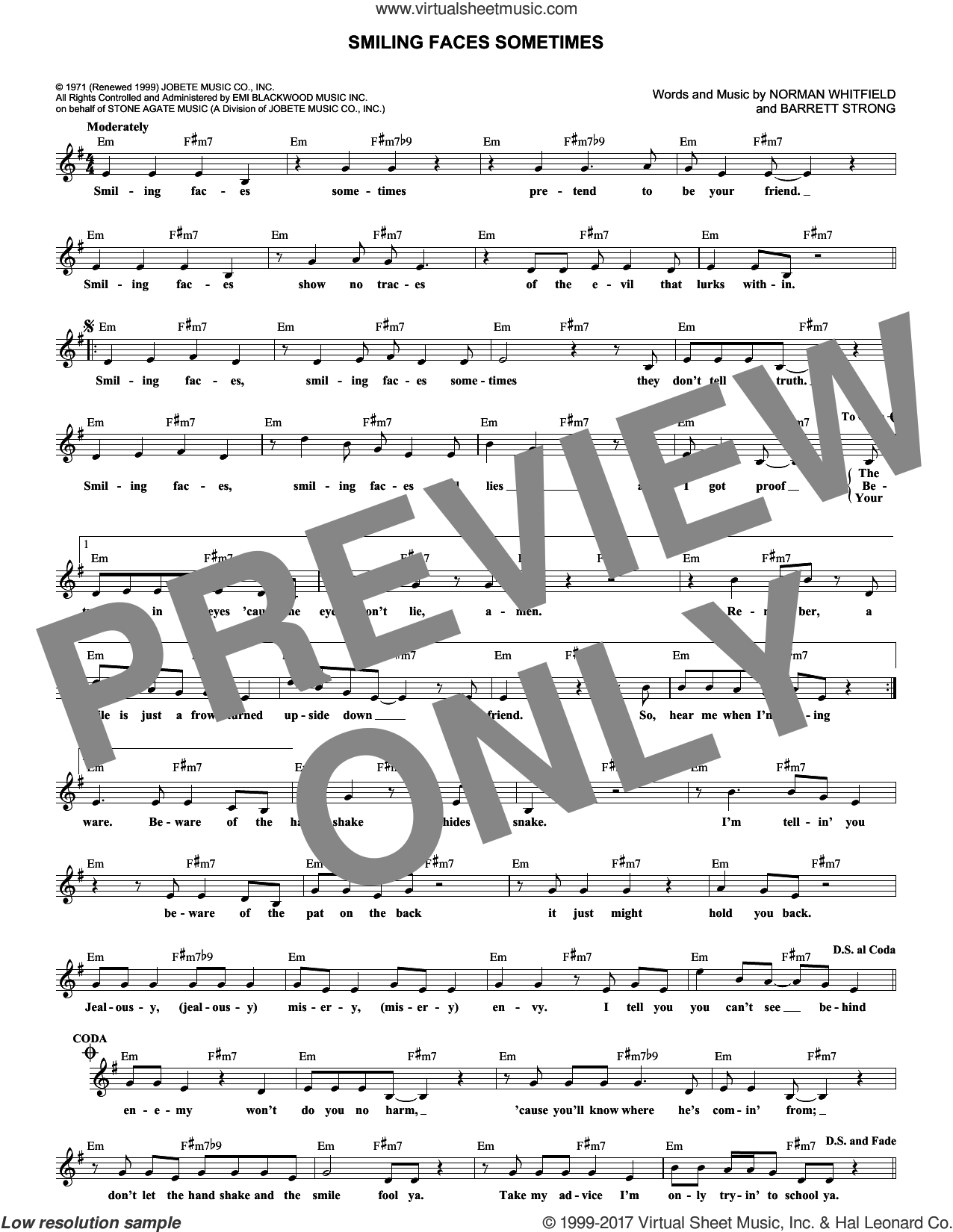 Smiling Faces Sometimes sheet music for voice and other instruments (fake book) by Rare Earth, Barrett Strong and Norman Whitfield, intermediate. Score Image Preview.
