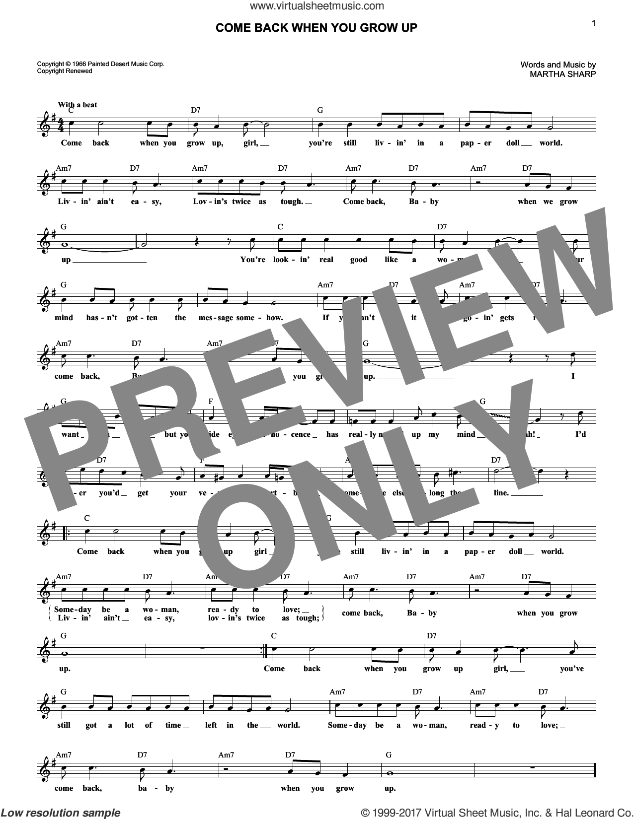 Come Back When You Grow Up sheet music for voice and other instruments (fake book) by Martha Sharp. Score Image Preview.