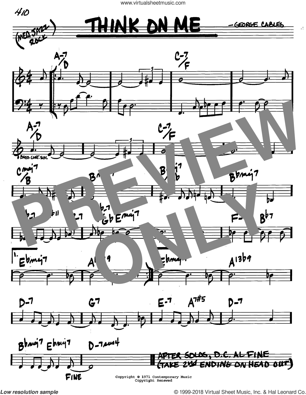 Think On Me sheet music for voice and other instruments (C) by George Cables