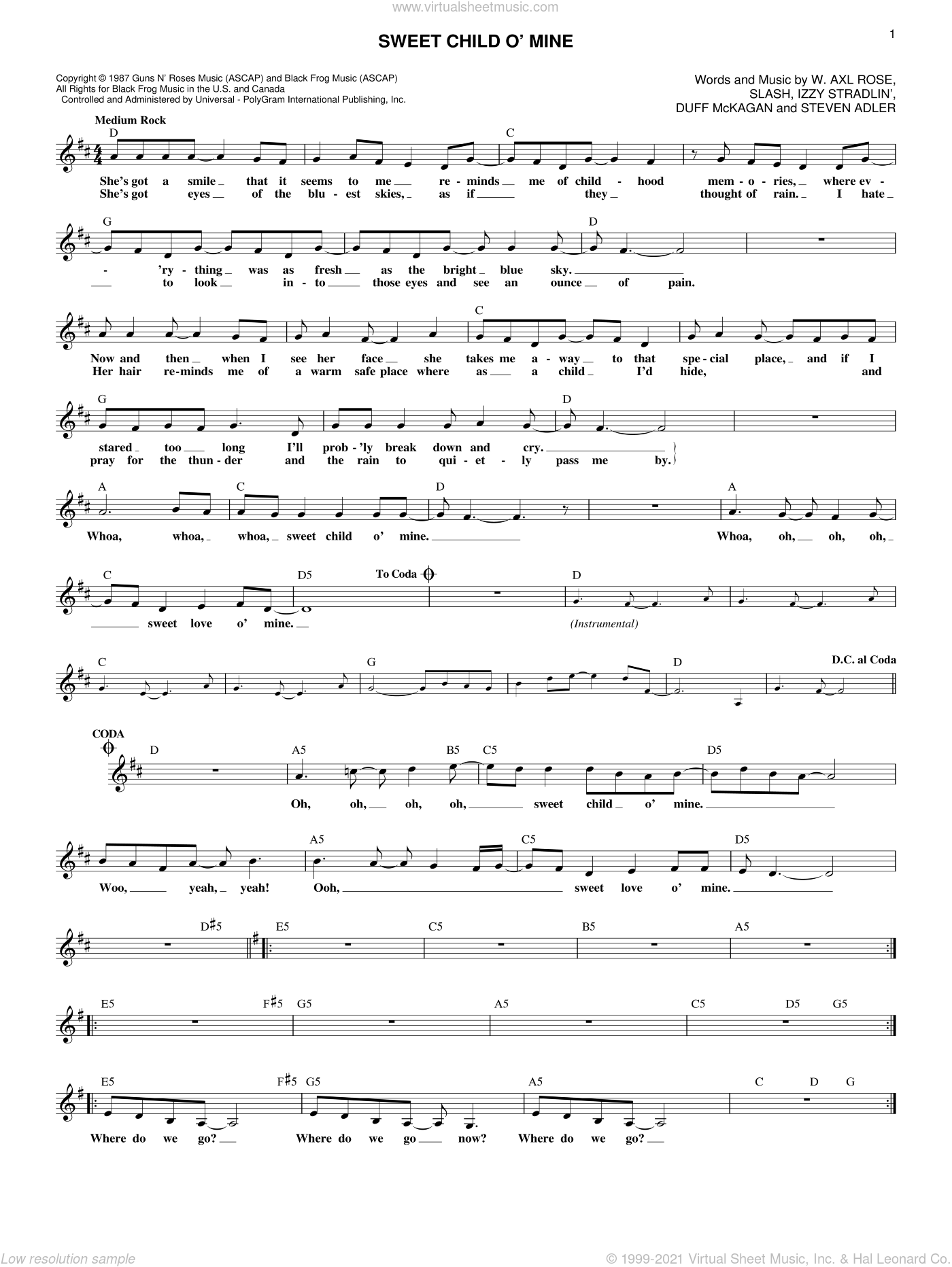 Sweet Child O' Mine sheet music for voice and other instruments (fake book) by Guns N' Roses, Axl Rose, Duff McKagan, Slash and Steven Adler, intermediate. Score Image Preview.