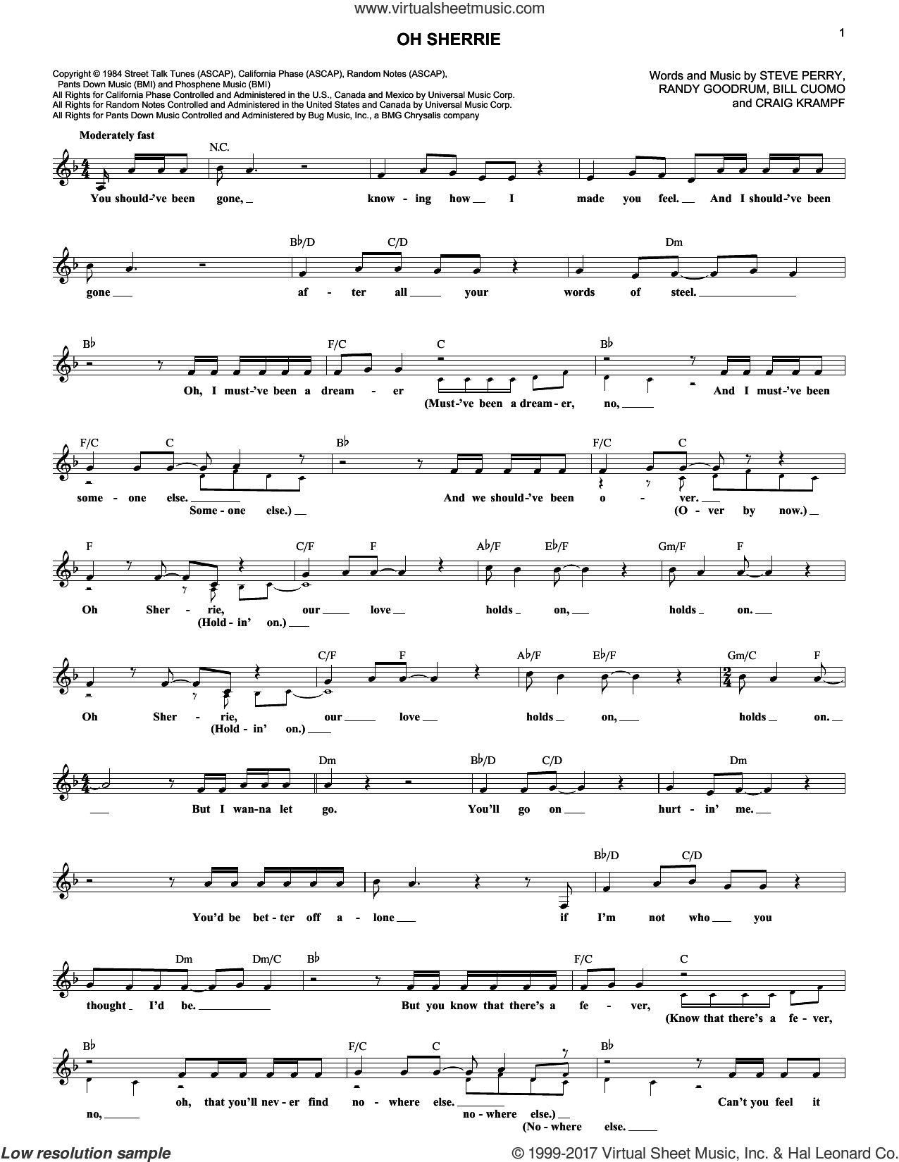 Oh Sherrie sheet music for voice and other instruments (fake book) by Steve Perry, Bill Cuomo, Craig Krampf and Randy Goodrum, intermediate voice. Score Image Preview.