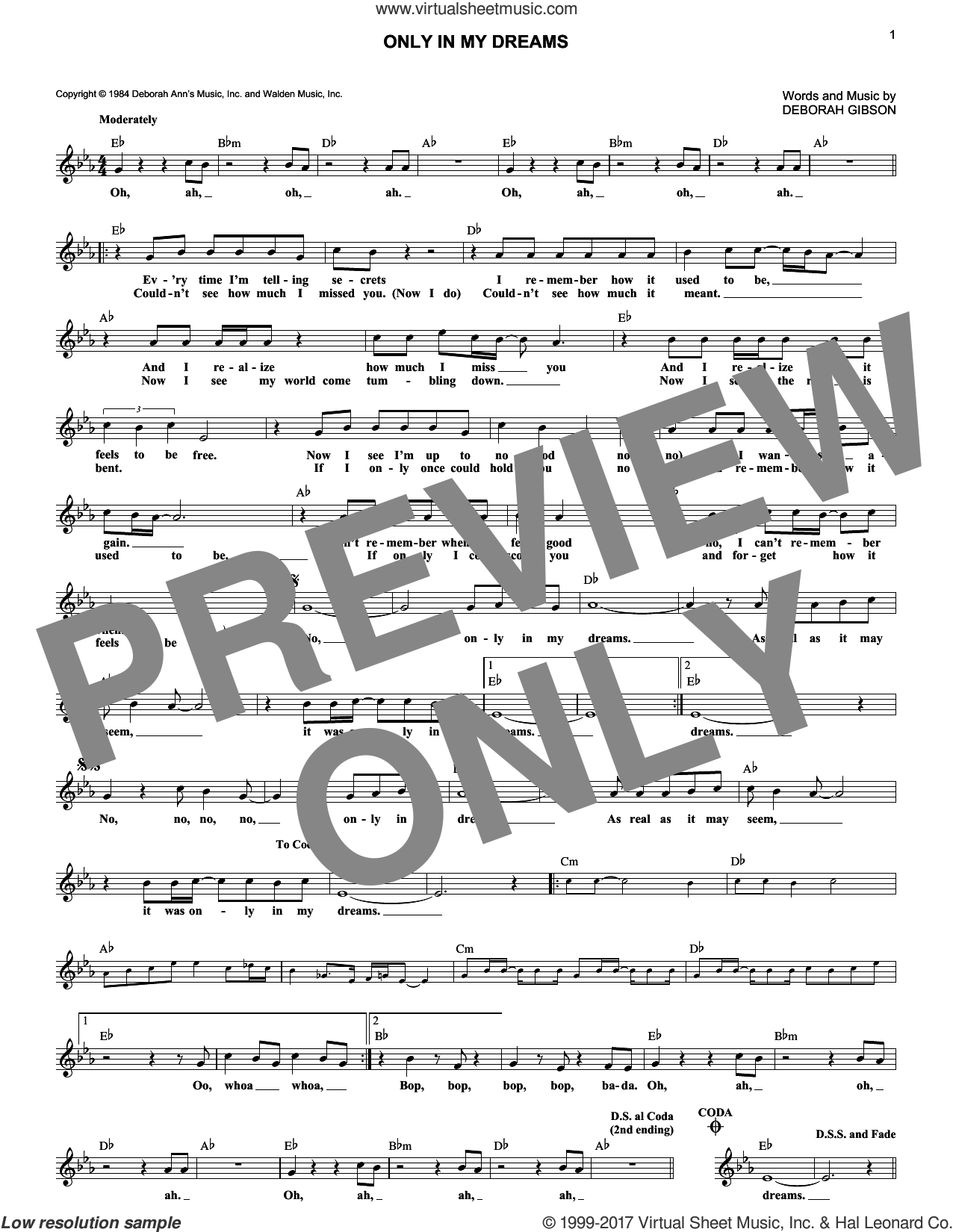Only In My Dreams sheet music for voice and other instruments (fake book) by Debbie Gibson and Deborah Gibson, intermediate skill level