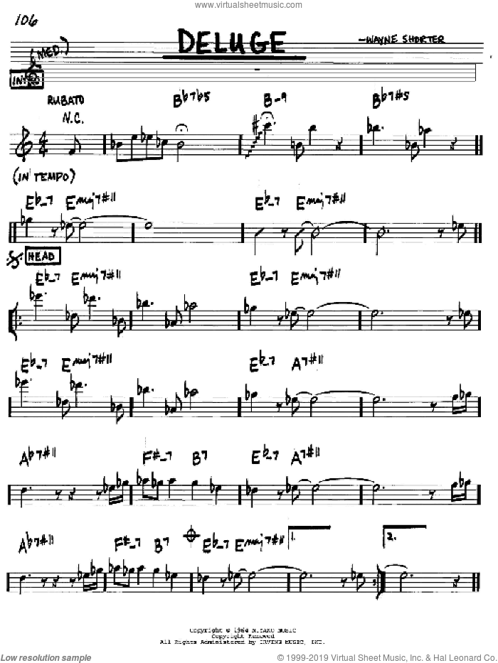 Deluge sheet music for voice and other instruments (in C) by Wayne Shorter, intermediate skill level