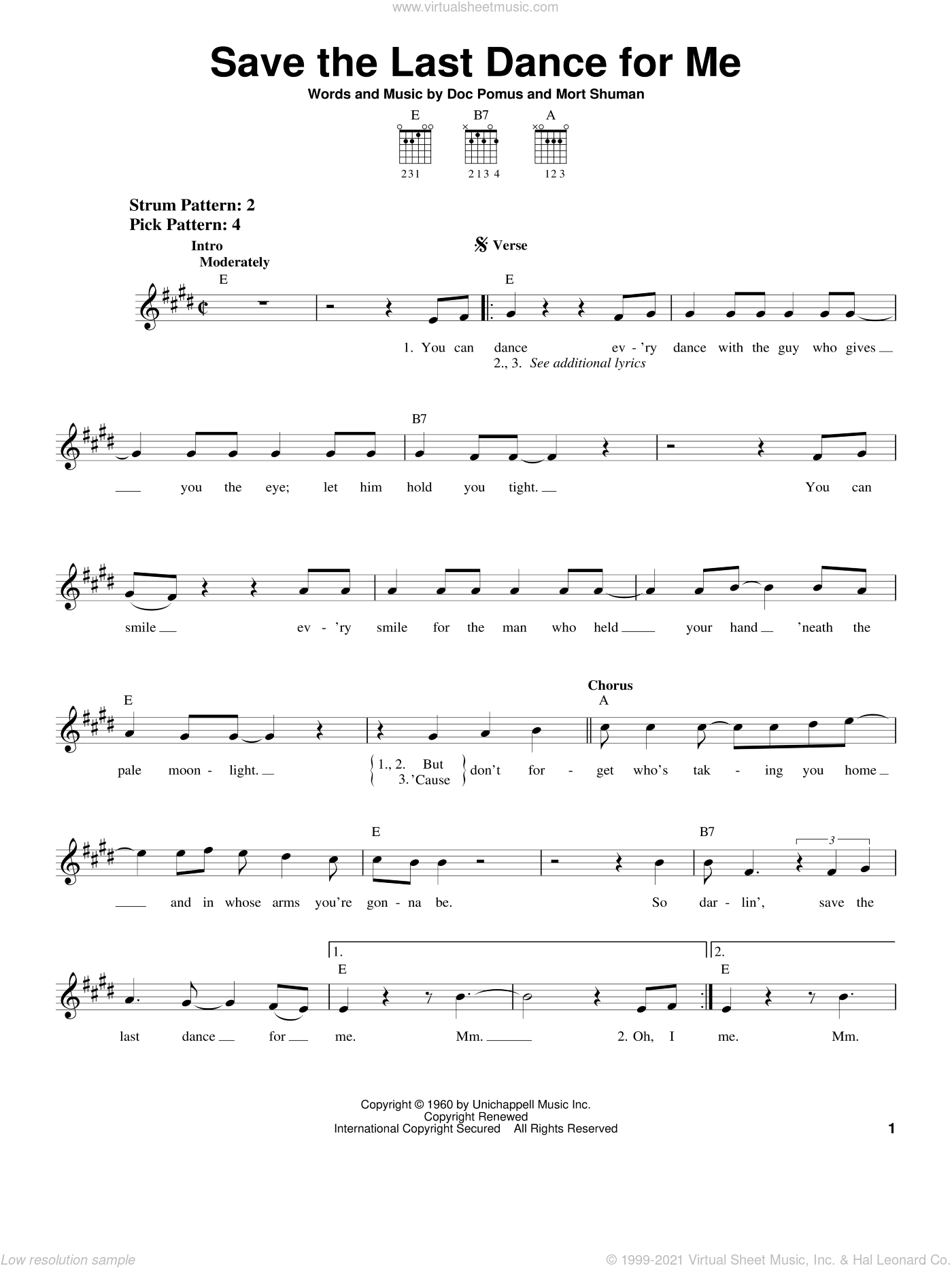 Save The Last Dance For Me sheet music for guitar solo (chords) by The Drifters, Doc Pomus, Jerome Pomus and Mort Shuman, easy guitar (chords)