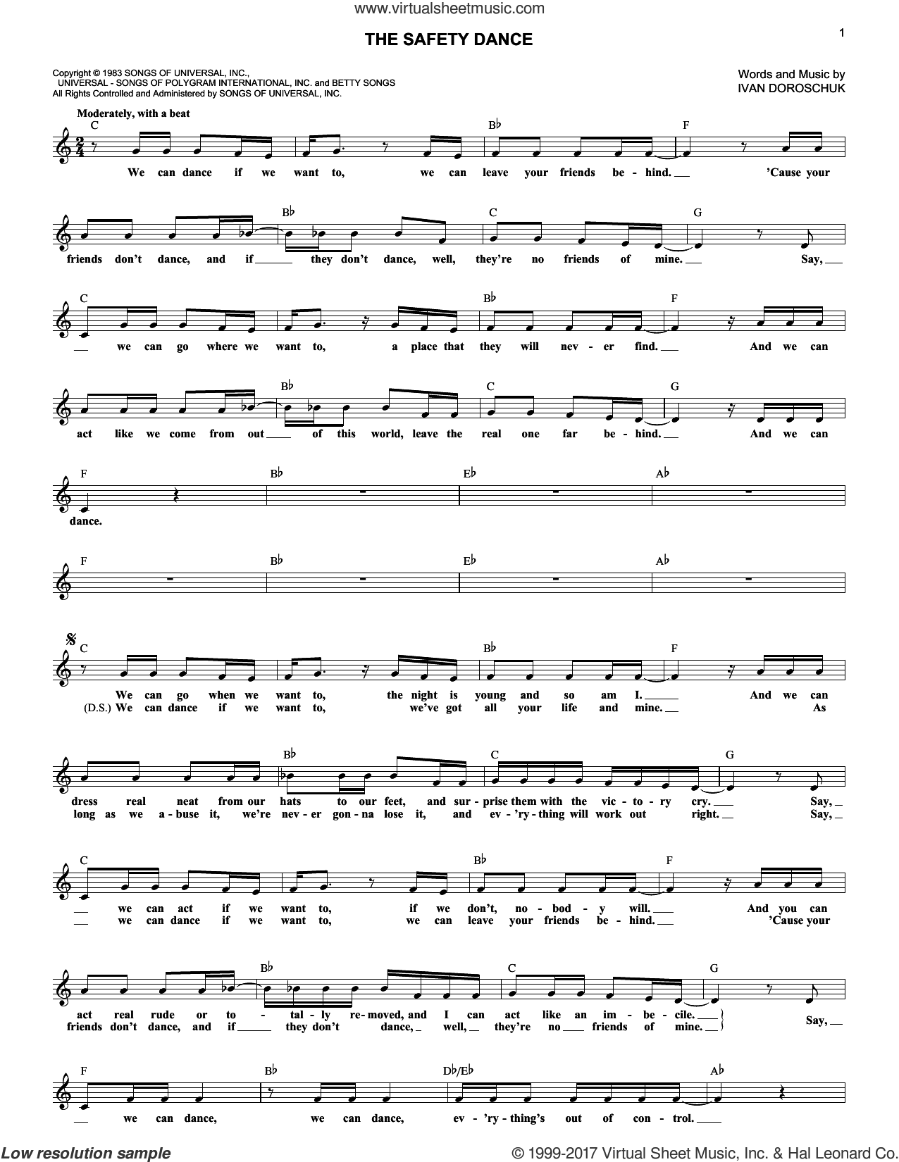 The Safety Dance sheet music for voice and other instruments (fake book) by Men Without Hats, intermediate. Score Image Preview.