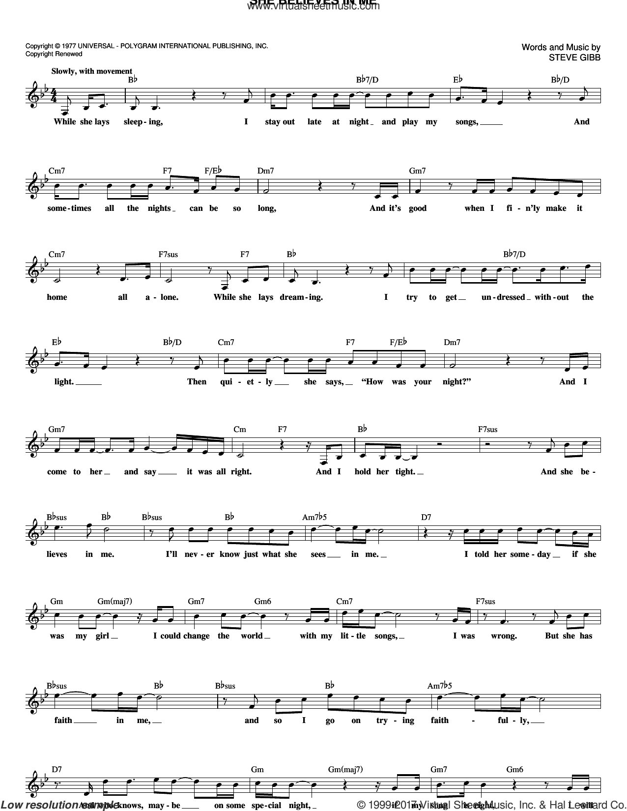 She Believes In Me sheet music for voice and other instruments (fake book) by Kenny Rogers and Steve Gibb, intermediate skill level