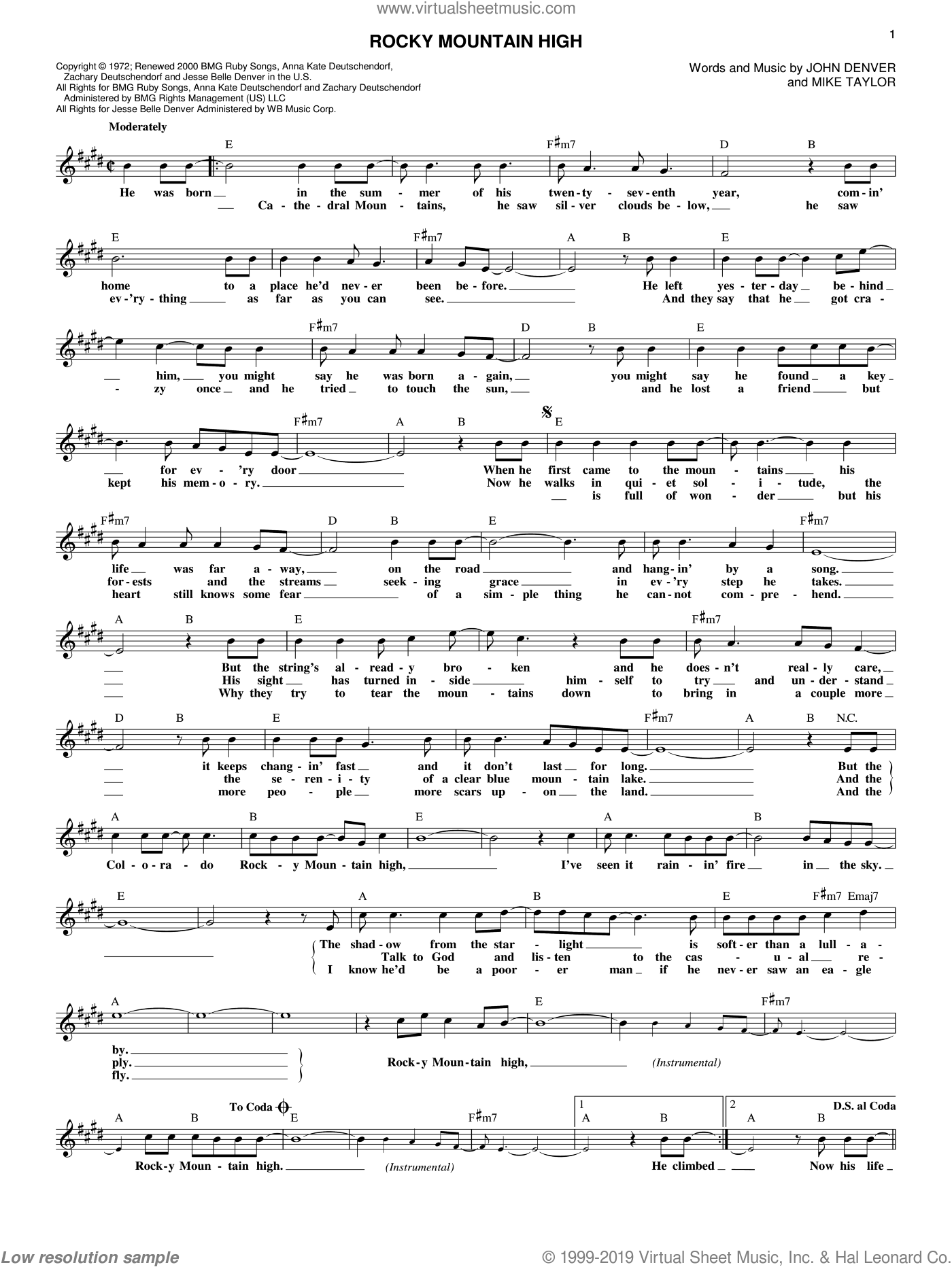 Rocky Mountain High sheet music for voice and other instruments (fake book) by John Denver and Mike Taylor. Score Image Preview.
