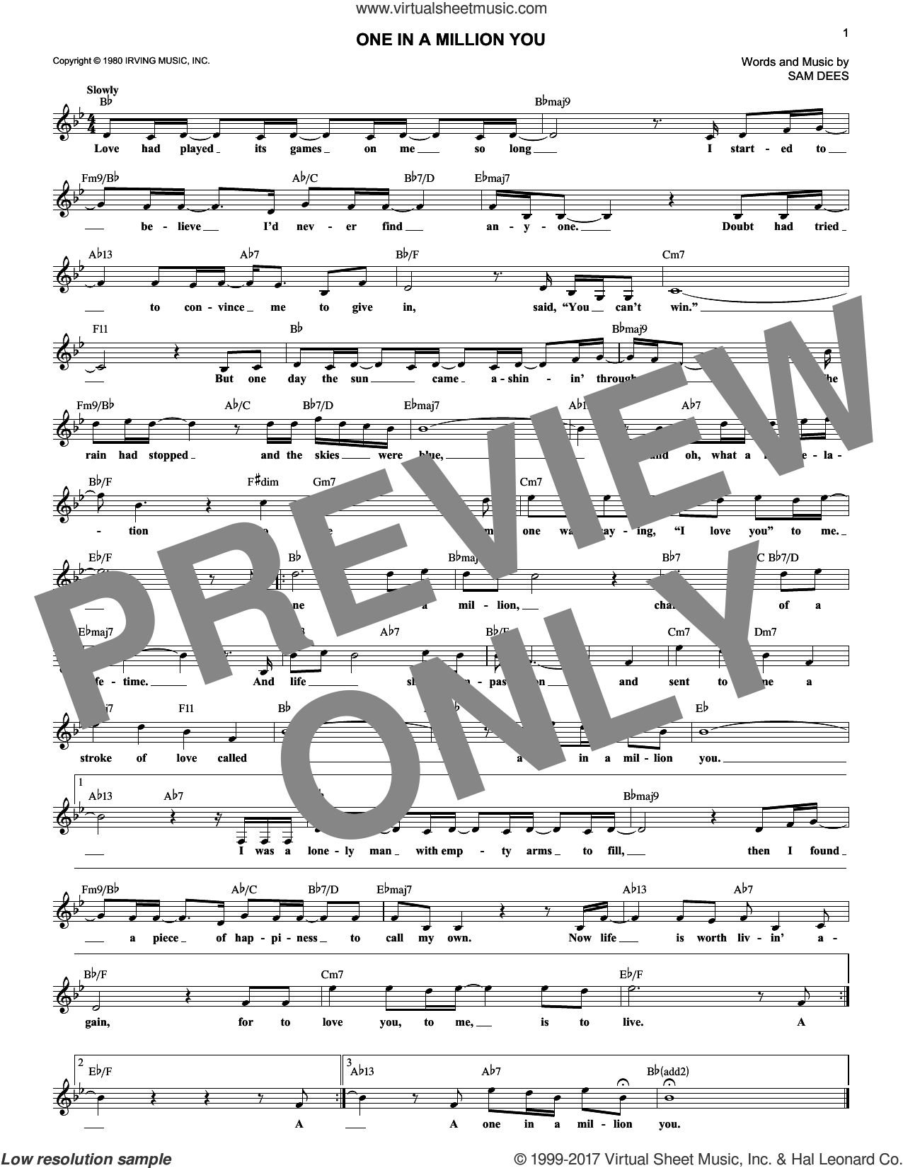 One In A Million You sheet music for voice and other instruments (fake book) by Larry Graham and Sam Dees, wedding score, intermediate skill level