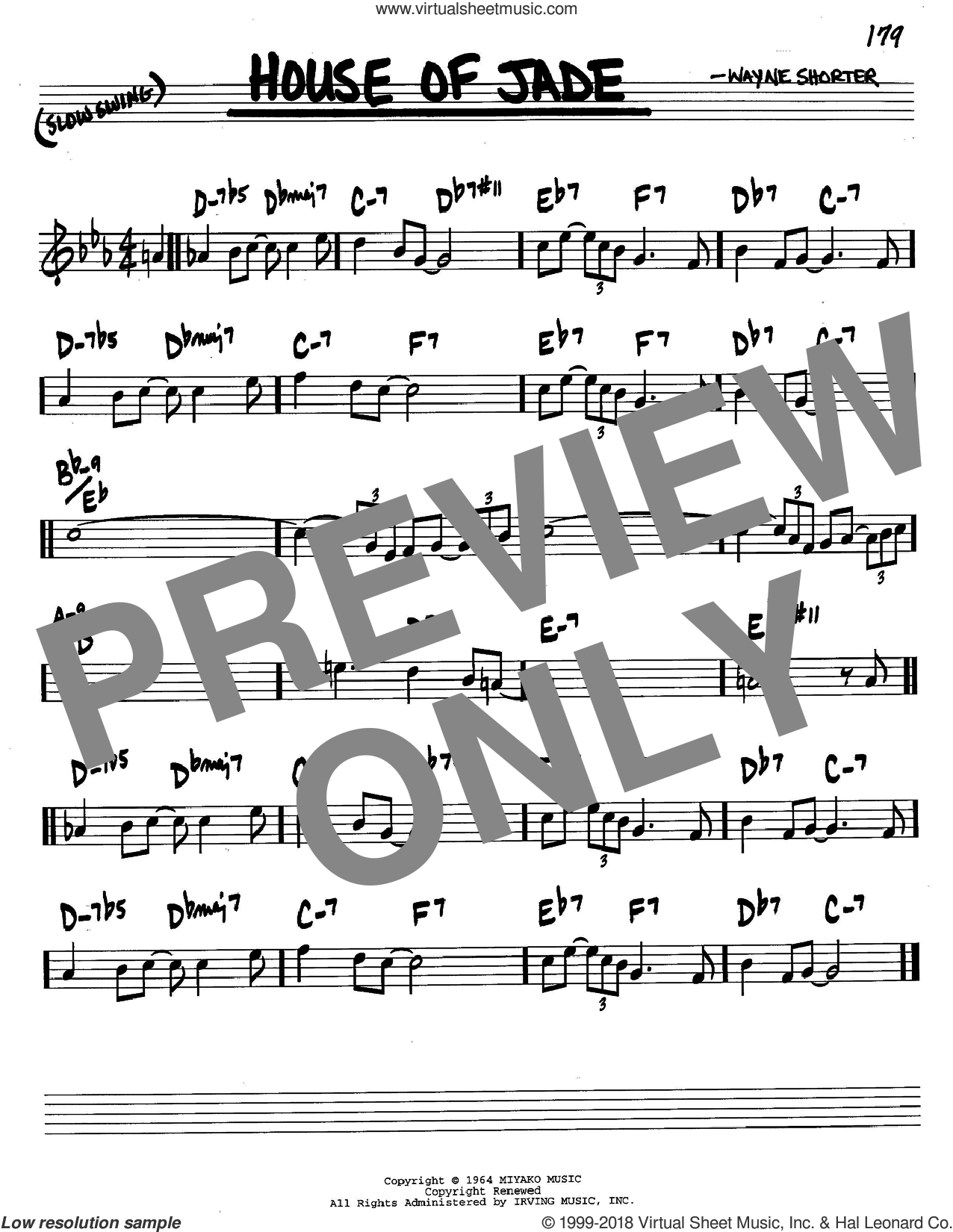 House Of Jade sheet music for voice and other instruments (C) by Wayne Shorter. Score Image Preview.