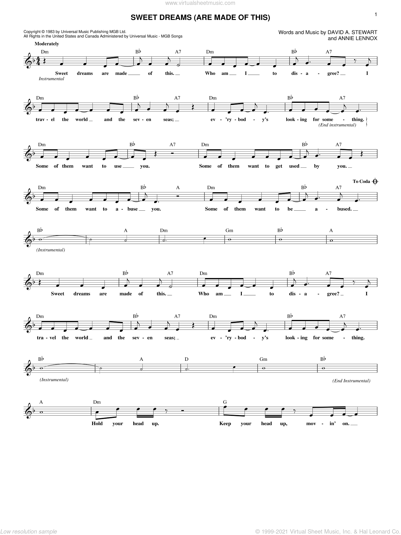 Sweet Dreams (Are Made Of This) sheet music for voice and other instruments (fake book) by Eurythmics, Annie Lennox and Dave Stewart, intermediate skill level