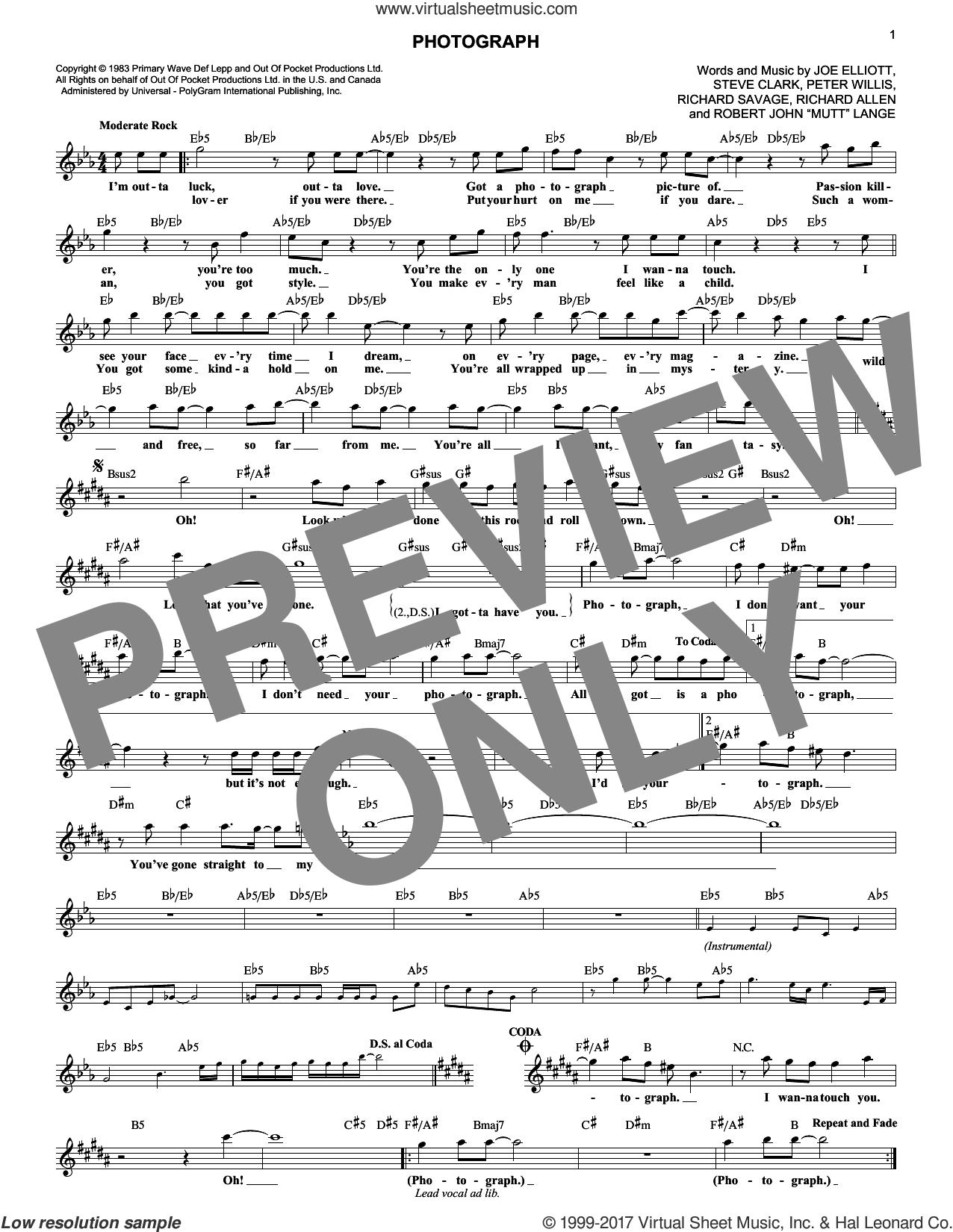 Photograph sheet music for voice and other instruments (fake book) by Stephen Maynard Clark, Def Leppard and Robert John Lange. Score Image Preview.
