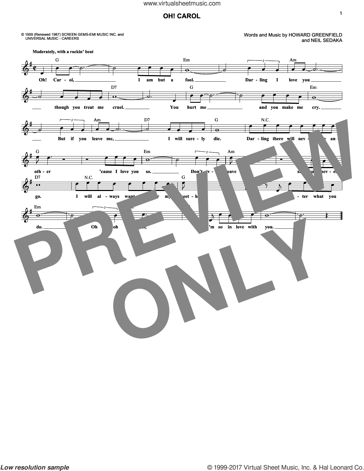 Oh! Carol sheet music for voice and other instruments (fake book) by Neil Sedaka and Howard Greenfield, intermediate skill level