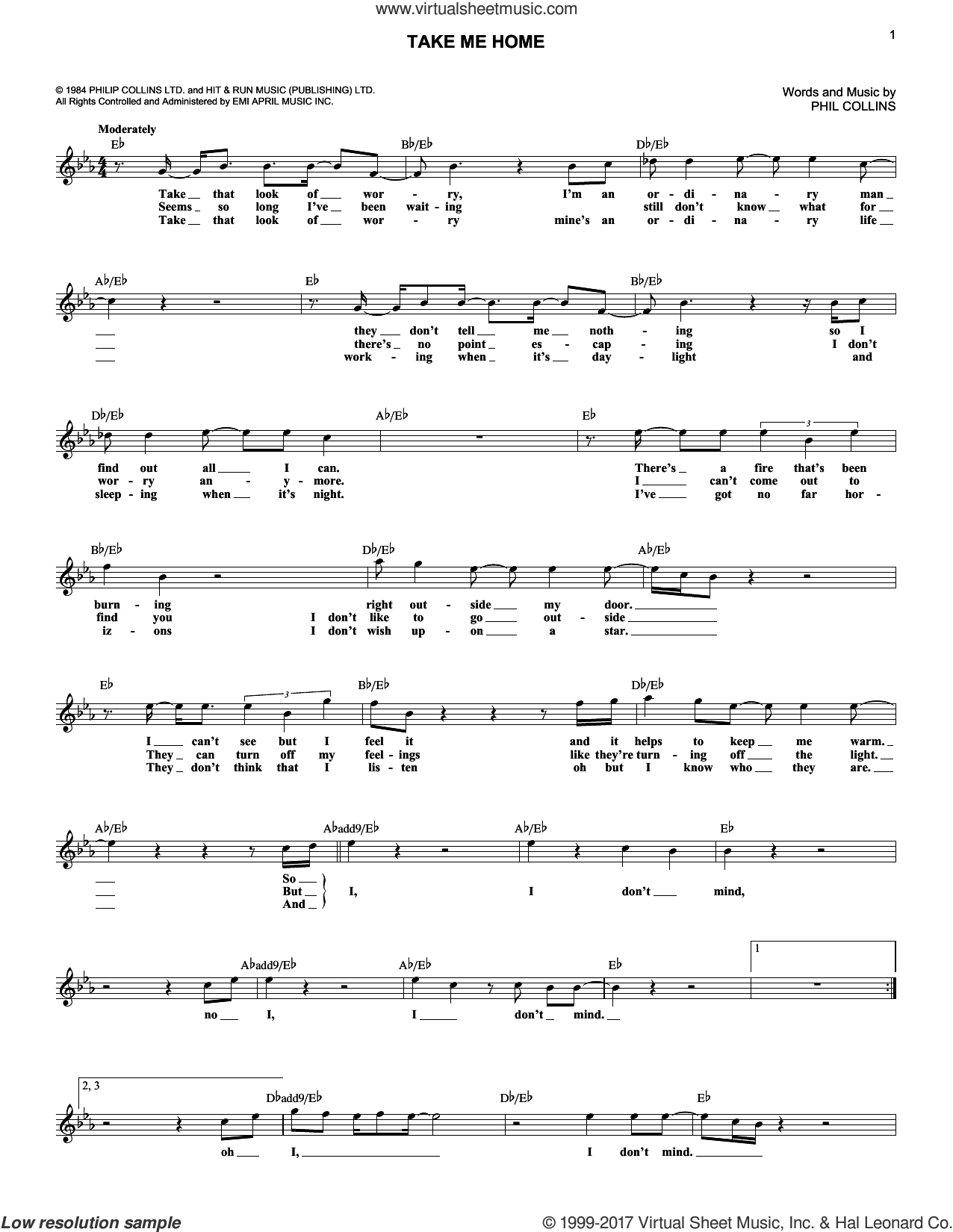 Take Me Home sheet music for voice and other instruments (fake book) by Phil Collins, intermediate. Score Image Preview.