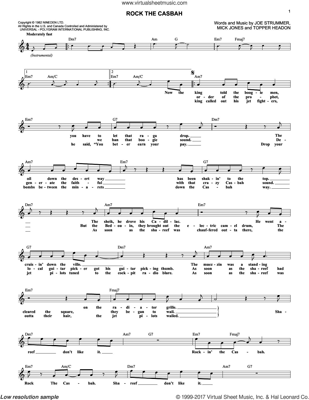 Rock The Casbah sheet music for voice and other instruments (fake book) by The Clash, Joe Strummer, Mick Jones and Topper Headon, intermediate skill level