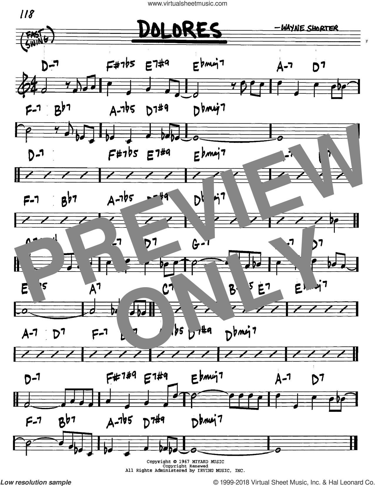 Dolores sheet music for voice and other instruments (C) by Wayne Shorter. Score Image Preview.