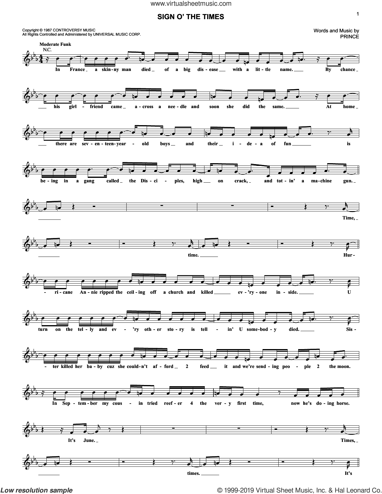 Sign O' The Times sheet music for voice and other instruments (fake book) by Prince, intermediate skill level