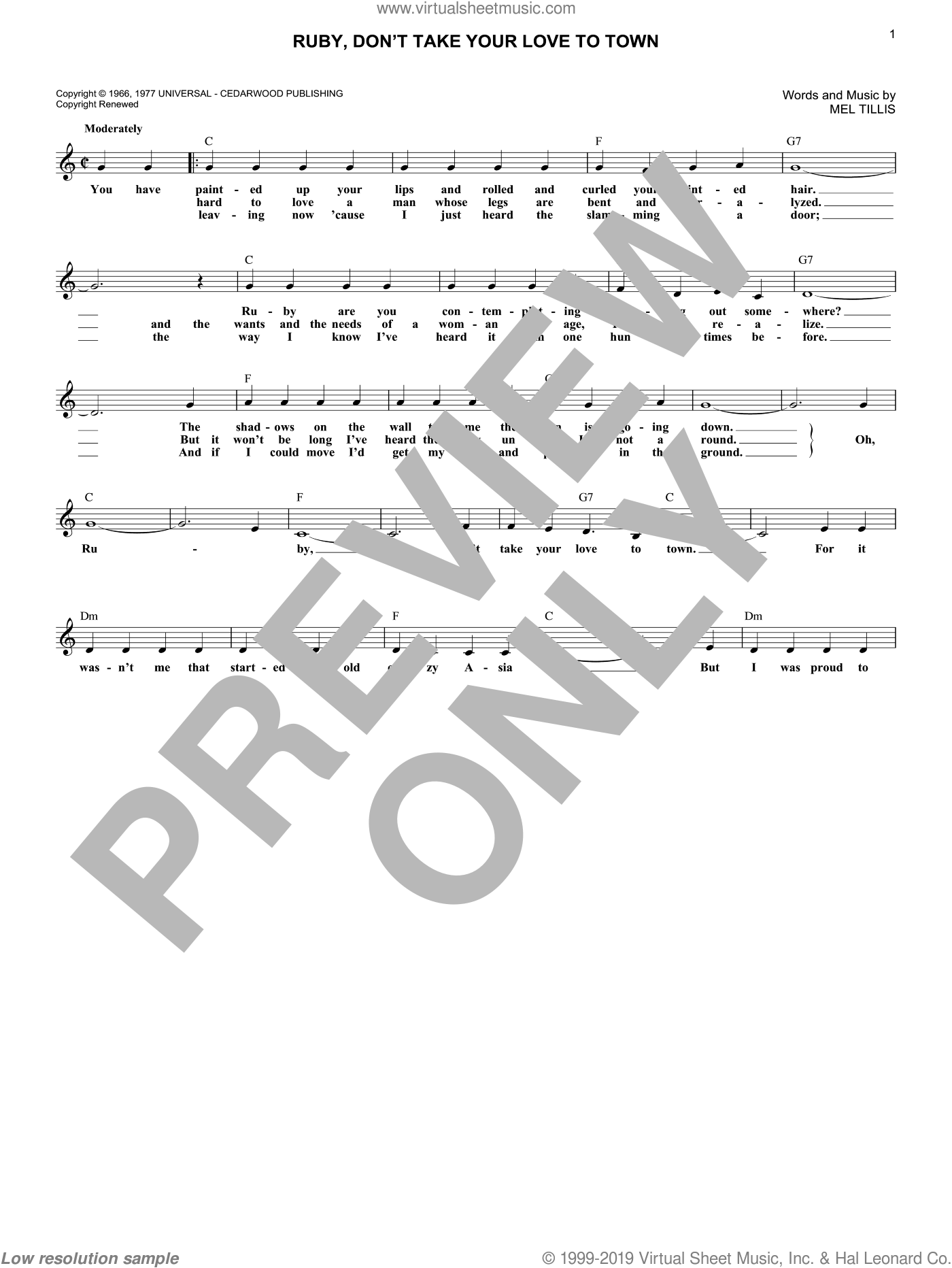 Ruby, Don't Take Your Love To Town sheet music for voice and other instruments (fake book) by Kenny Rogers and Mel Tillis, intermediate skill level