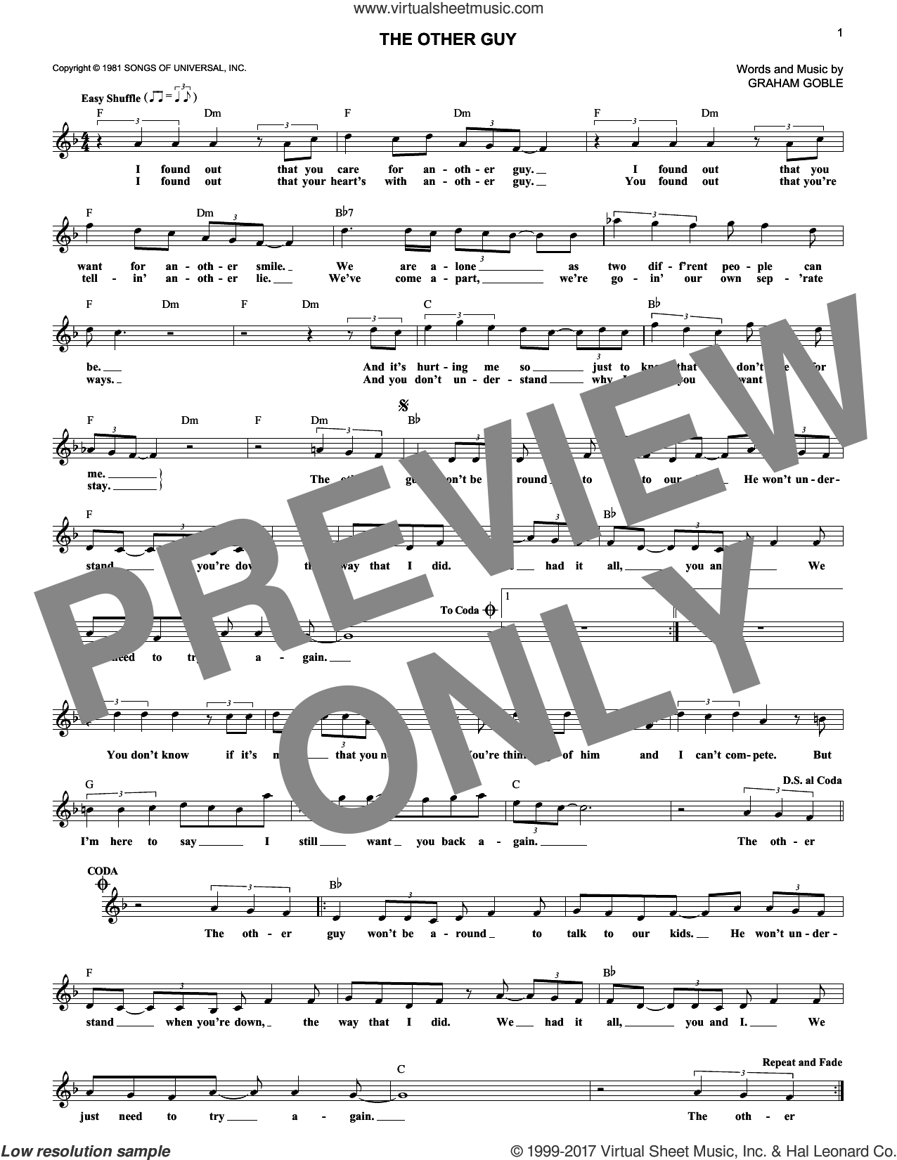 The Other Guy sheet music for voice and other instruments (fake book) by Little River Band and Graham Goble, intermediate. Score Image Preview.