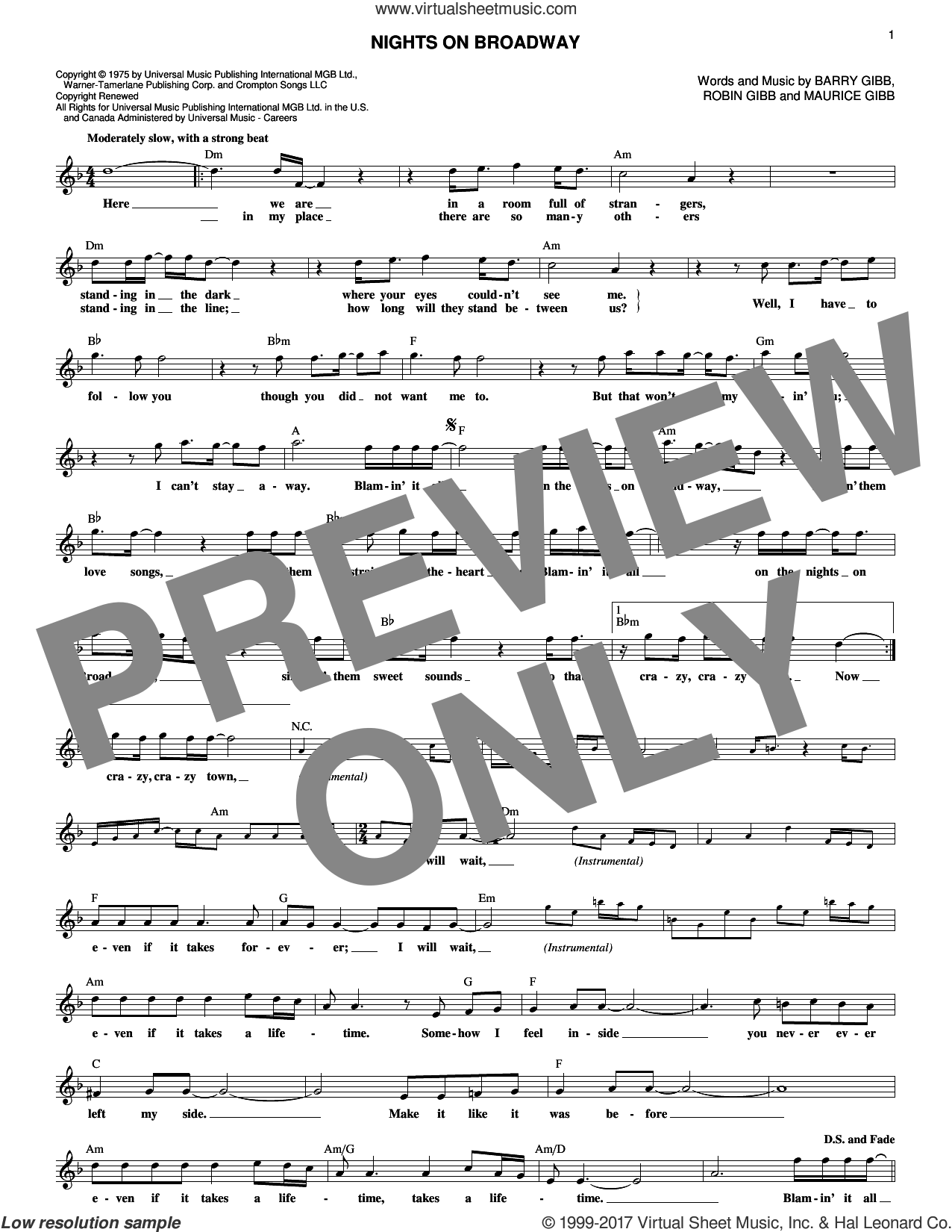 Nights On Broadway sheet music for voice and other instruments (fake book) by Bee Gees, Barry Gibb, Maurice Gibb and Robin Gibb, intermediate. Score Image Preview.