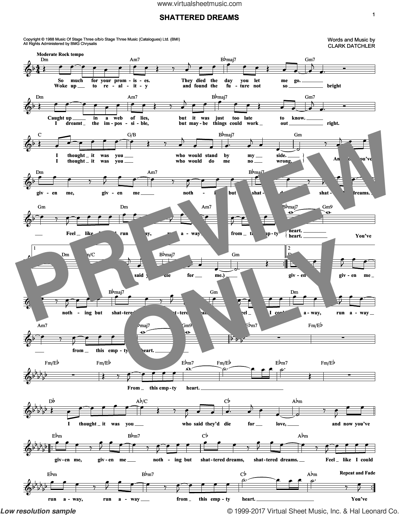 Shattered Dreams sheet music for voice and other instruments (fake book) by Johnny Hates Jazz and Clark Datchler, intermediate skill level