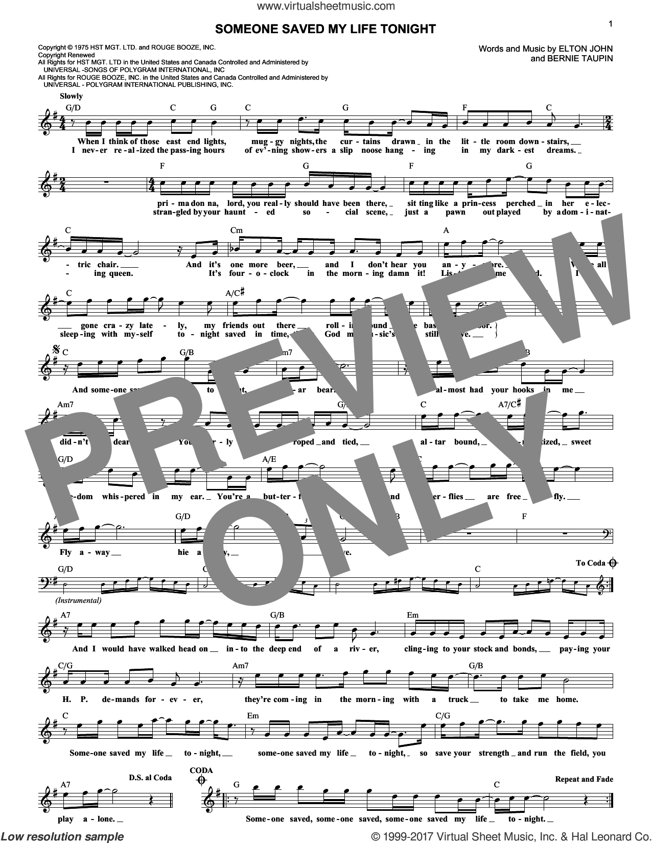 Someone Saved My Life Tonight sheet music for voice and other instruments (fake book) by Elton John and Bernie Taupin, intermediate. Score Image Preview.