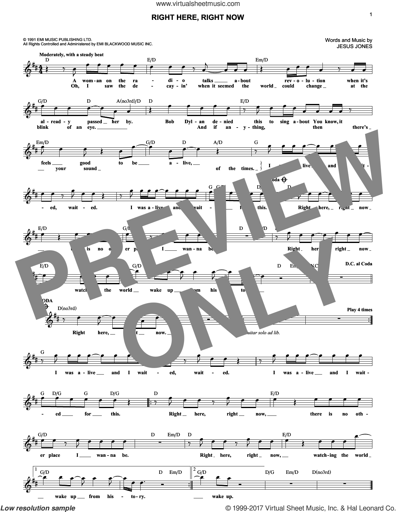 Right Here, Right Now sheet music for voice and other instruments (fake book) by Jesus Jones, intermediate skill level
