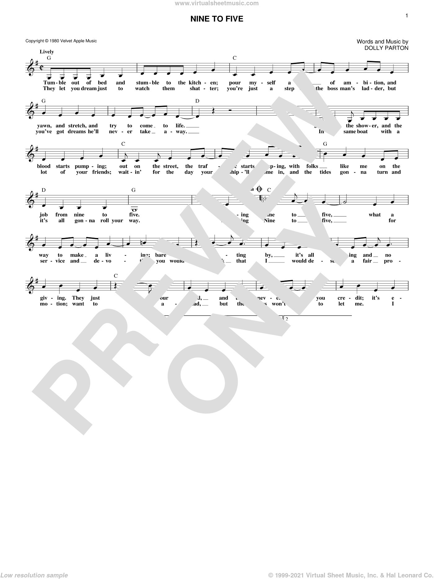 Nine To Five sheet music for voice and other instruments (fake book) by Dolly Parton, intermediate skill level
