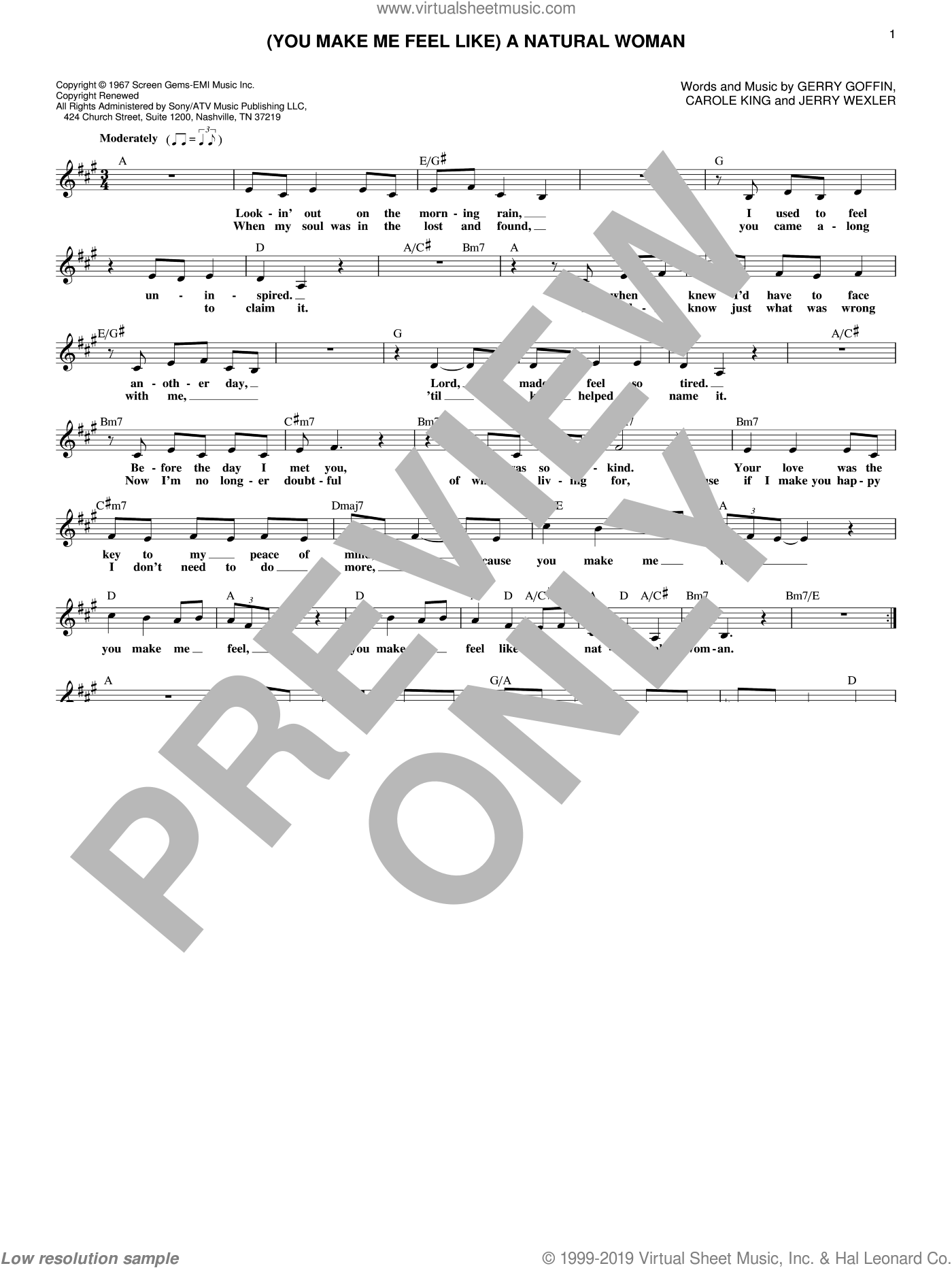 (You Make Me Feel Like) A Natural Woman sheet music for voice and other instruments (fake book) by Aretha Franklin, Gerry Goffin and Jerry Wexler, wedding score, intermediate skill level