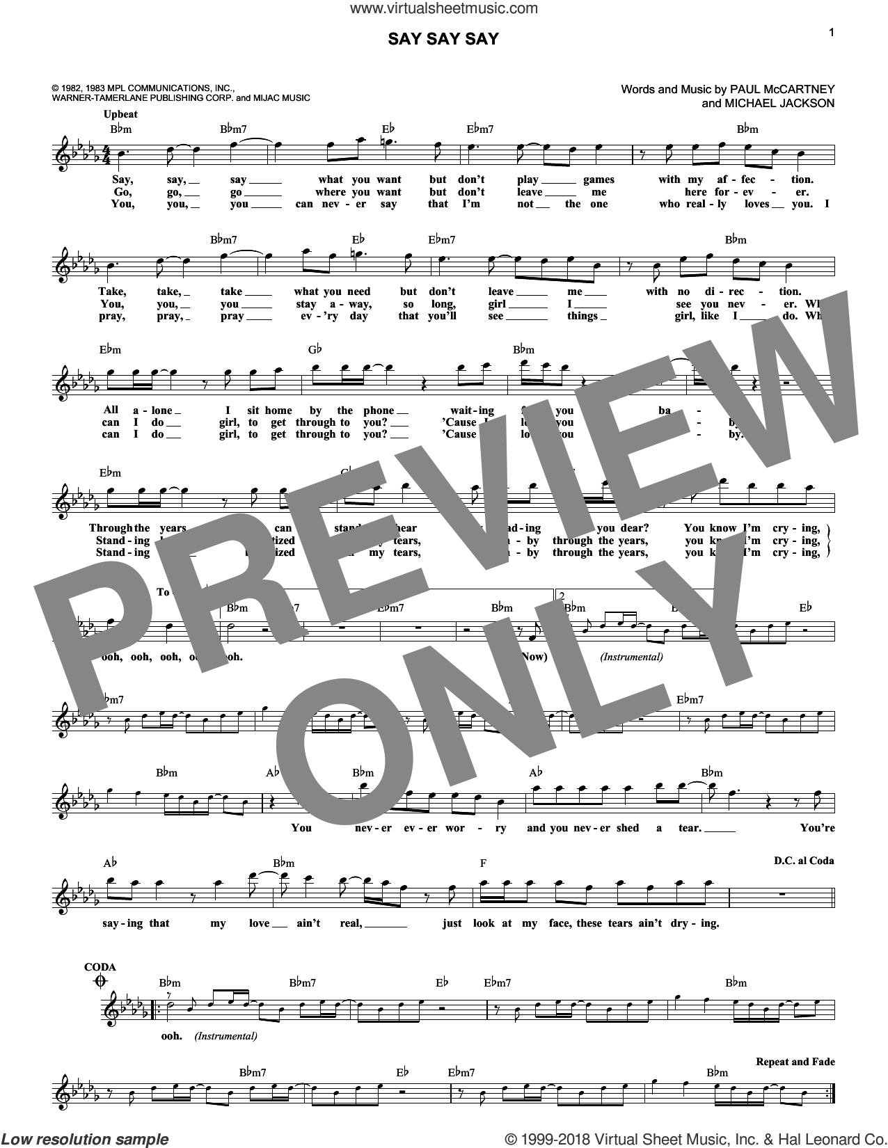 Say Say Say sheet music for voice and other instruments (fake book) by Paul McCartney, Paul McCartney and Michael Jackson and Michael Jackson, intermediate skill level