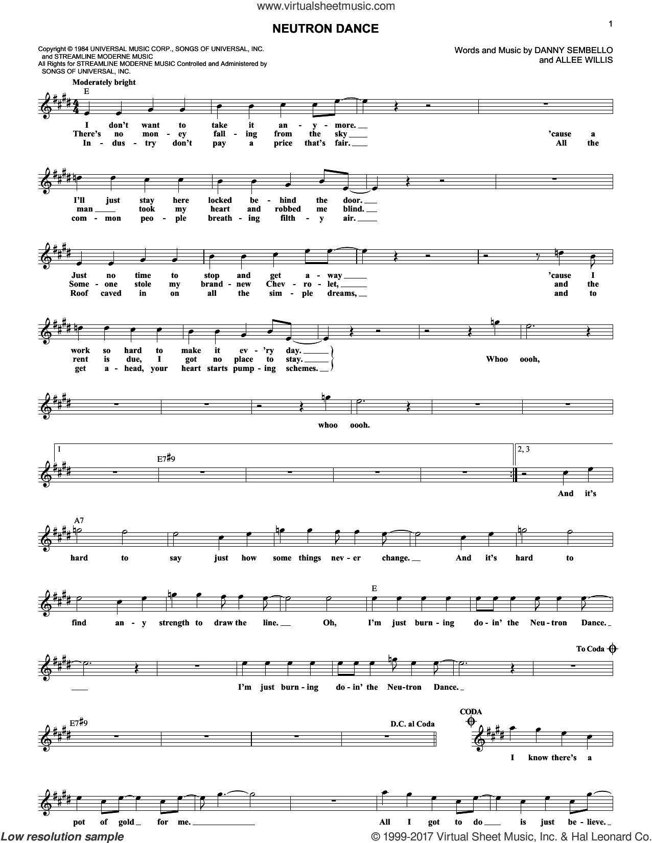 Neutron Dance sheet music for voice and other instruments (fake book) by Allee Willis and The Pointer Sisters, intermediate voice. Score Image Preview.