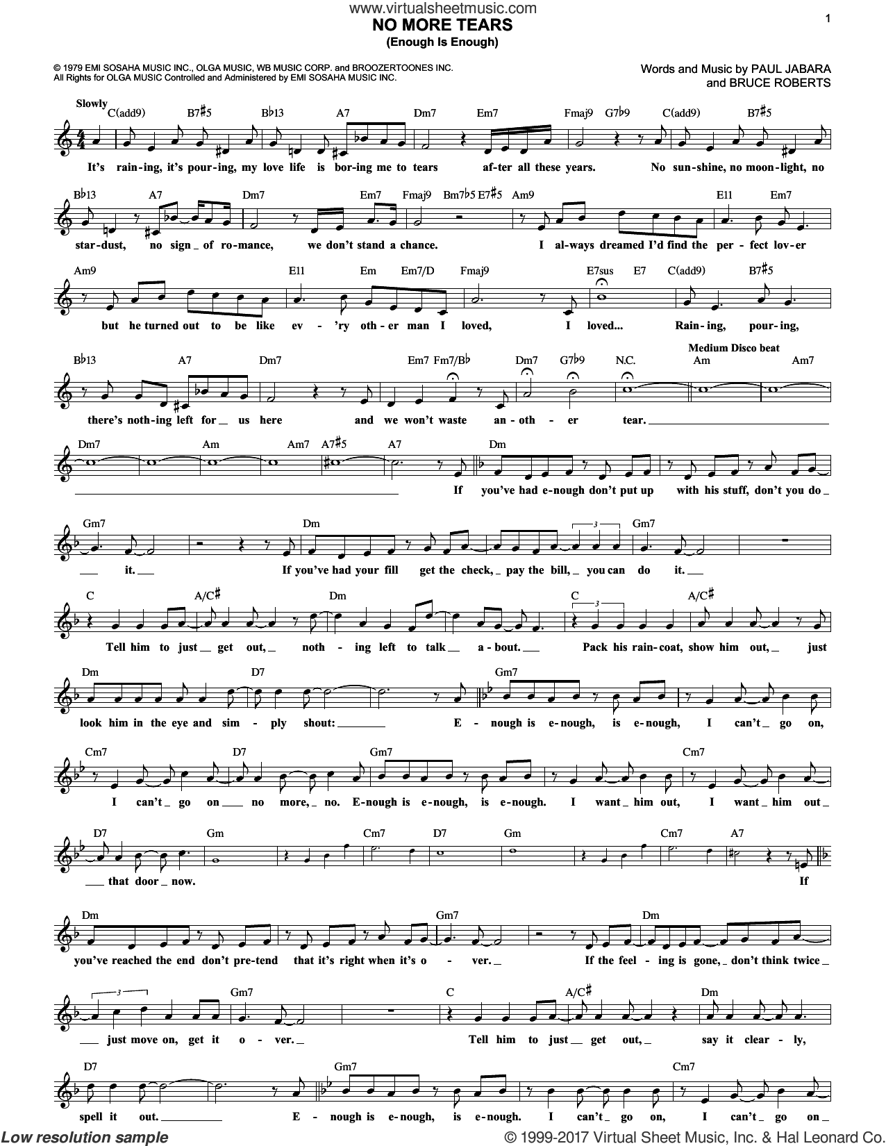 No More Tears (Enough Is Enough) sheet music for voice and other instruments (fake book) by Barbra Streisand and Donna Summer, Bruce Roberts and Paul Jabara, intermediate. Score Image Preview.