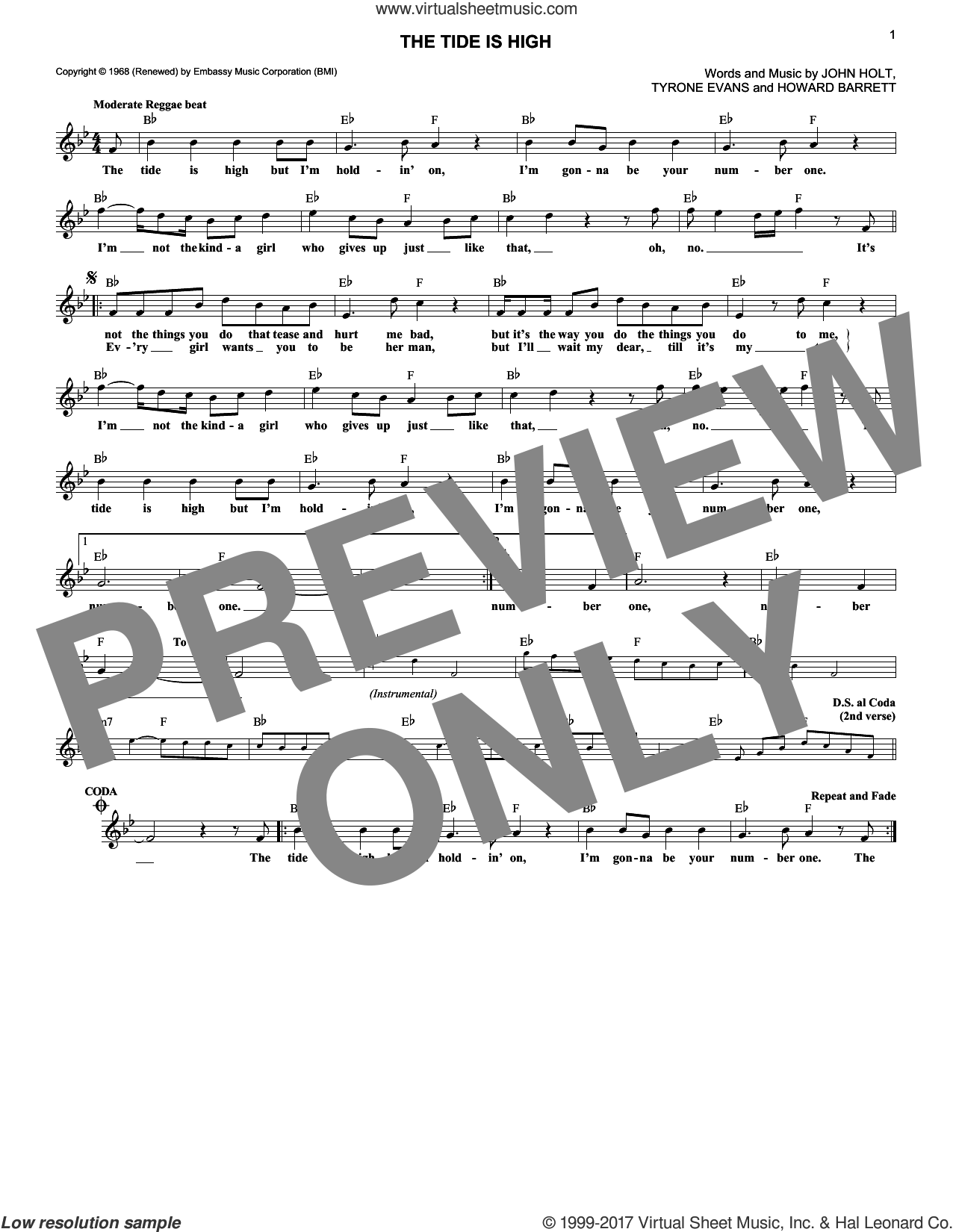 The Tide Is High sheet music for voice and other instruments (fake book) by Blondie, Howard Barrett, John Holt and Tyrone Evans, intermediate skill level
