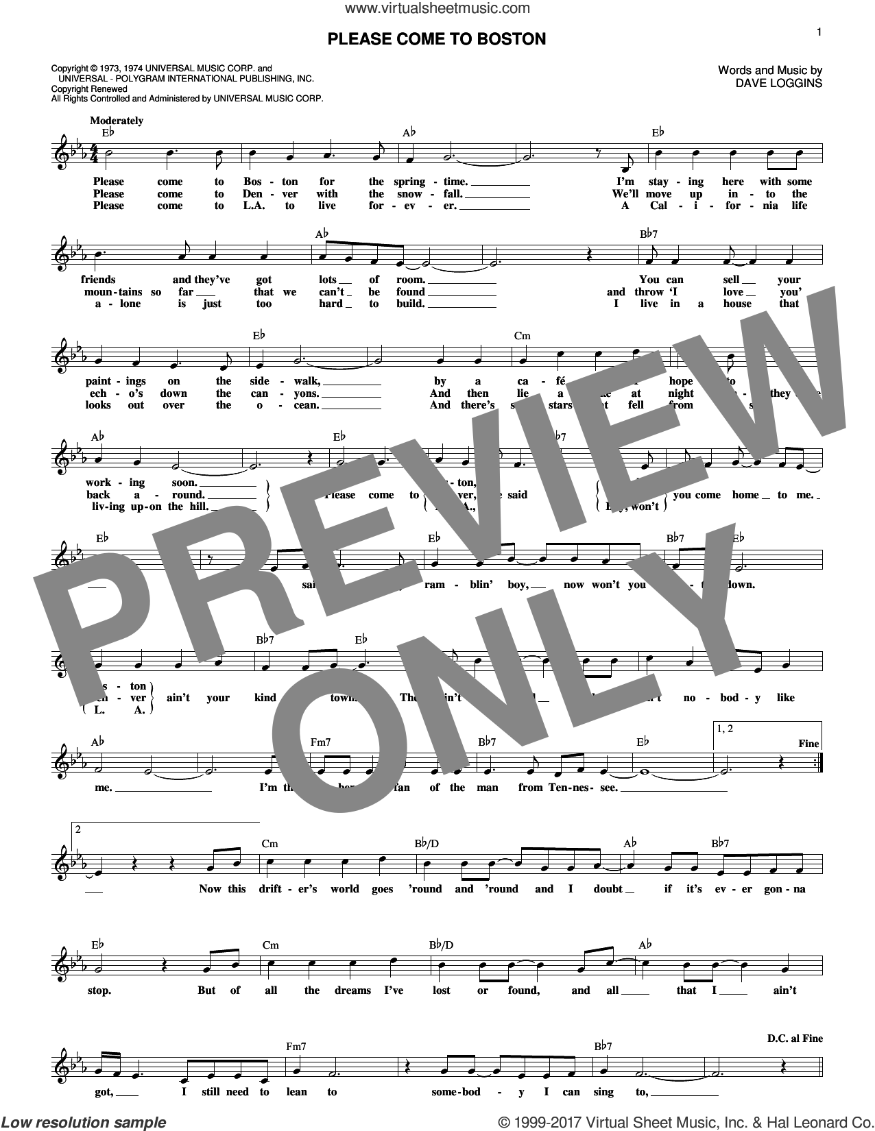 Please Come To Boston sheet music for voice and other instruments (fake book) by Dave Loggins. Score Image Preview.