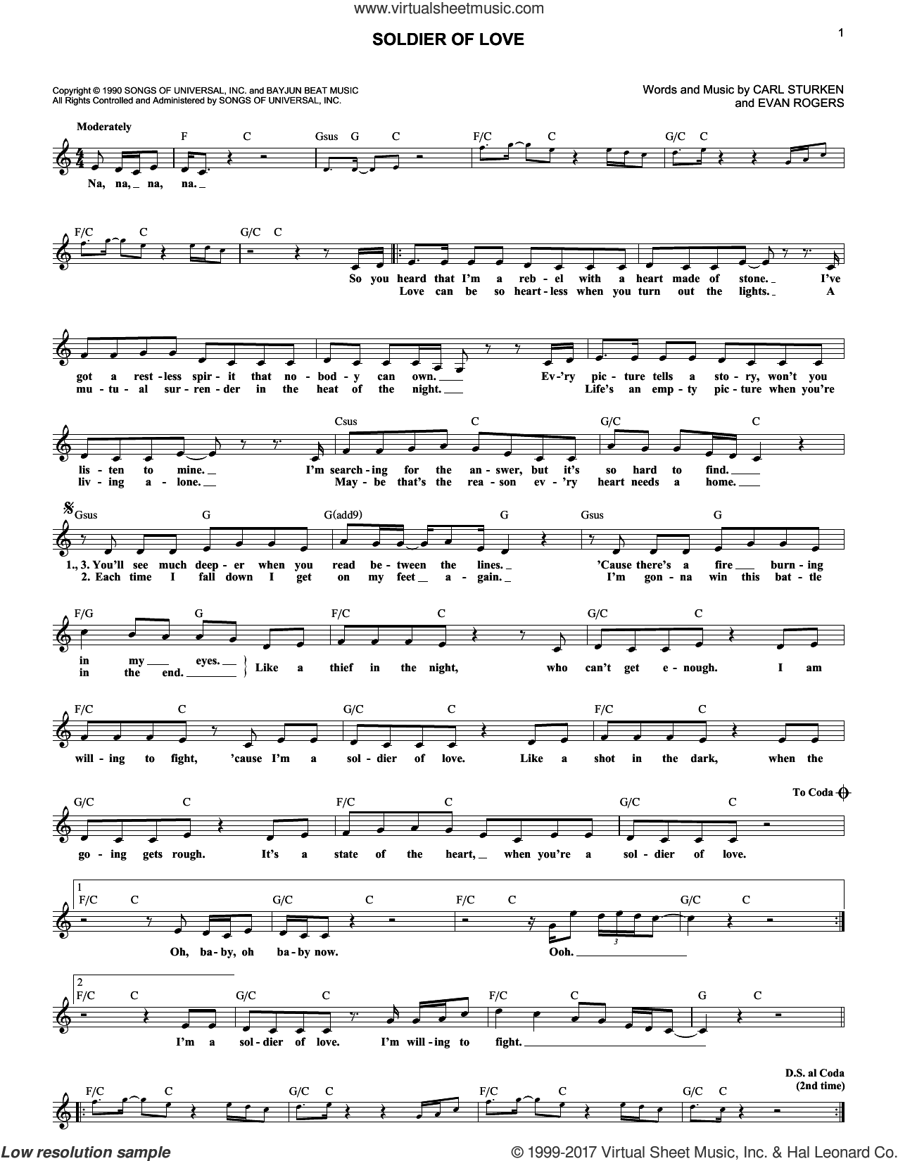 Soldier Of Love sheet music for voice and other instruments (fake book) by Donny Osmond, Carl Sturken and Evan Rogers, intermediate skill level