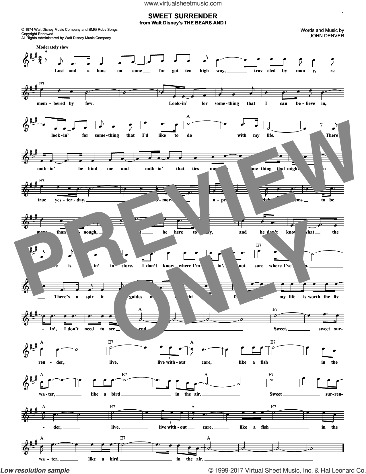 Sweet Surrender sheet music for voice and other instruments (fake book) by John Denver, intermediate skill level