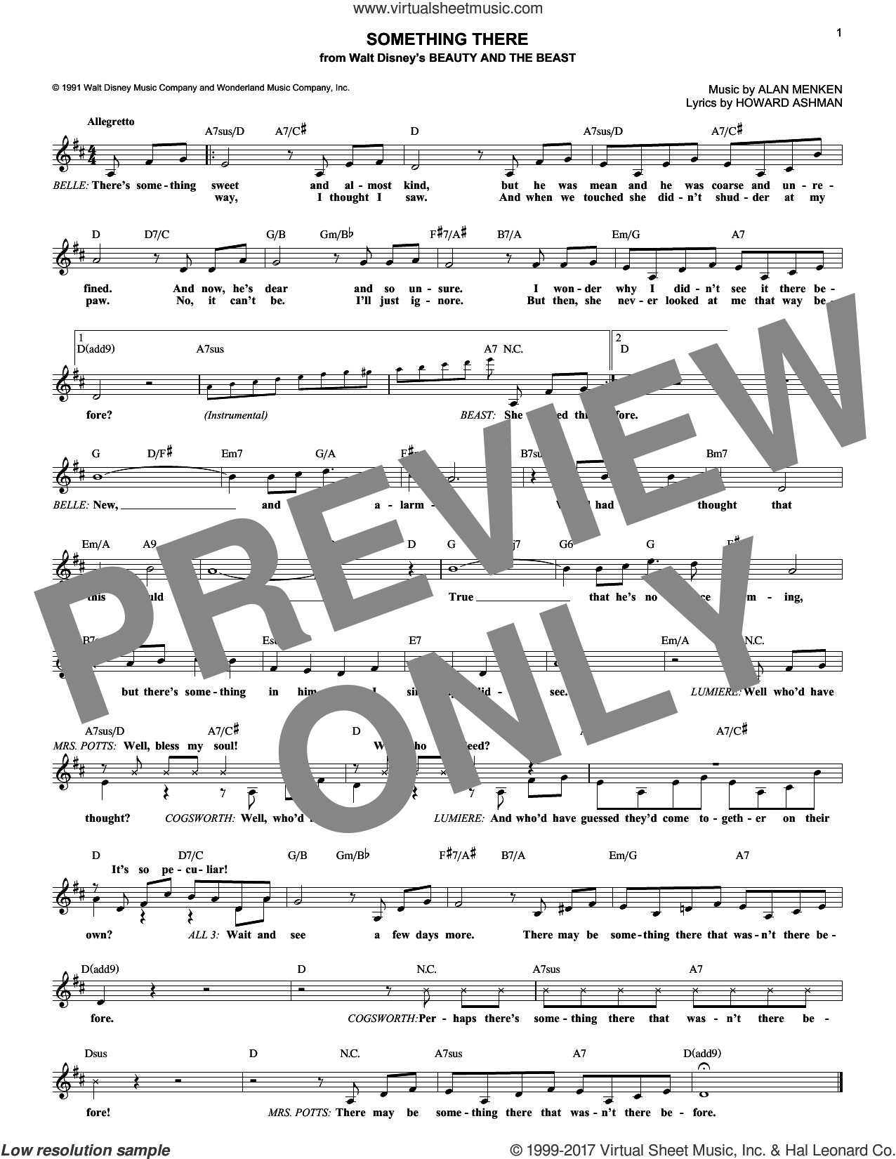 Something There (from Beauty And The Beast) sheet music for voice and other instruments (fake book) by Alan Menken and Howard Ashman, intermediate skill level