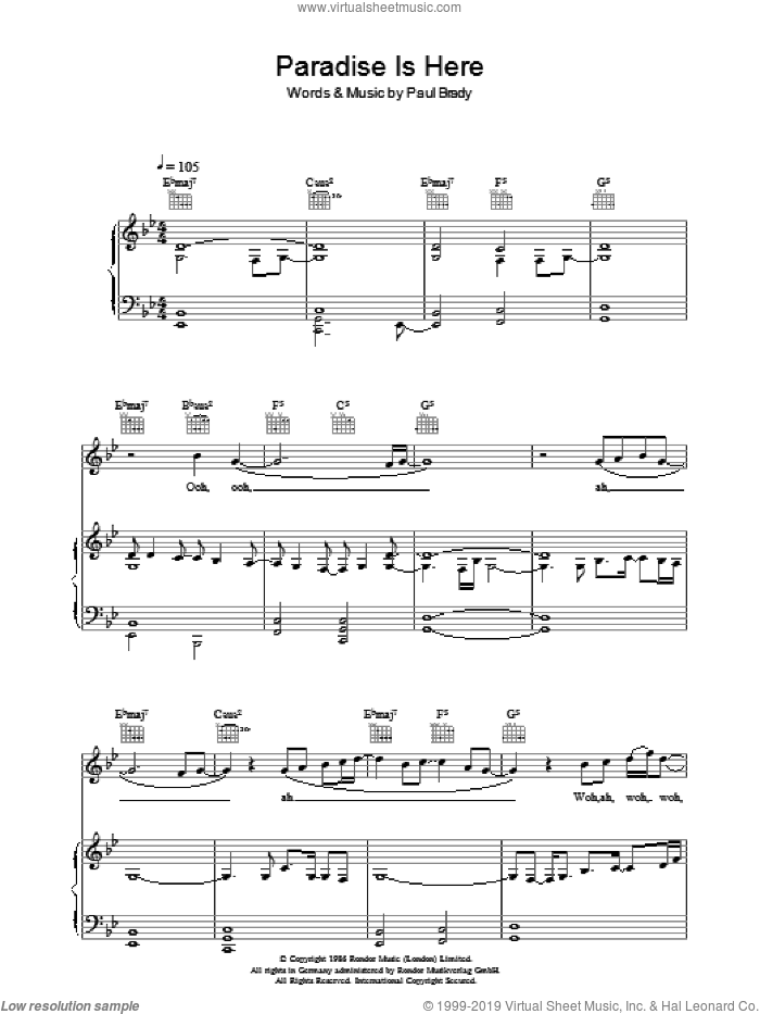 Paradise Is Here sheet music for voice, piano or guitar by Paul Brady. Score Image Preview.