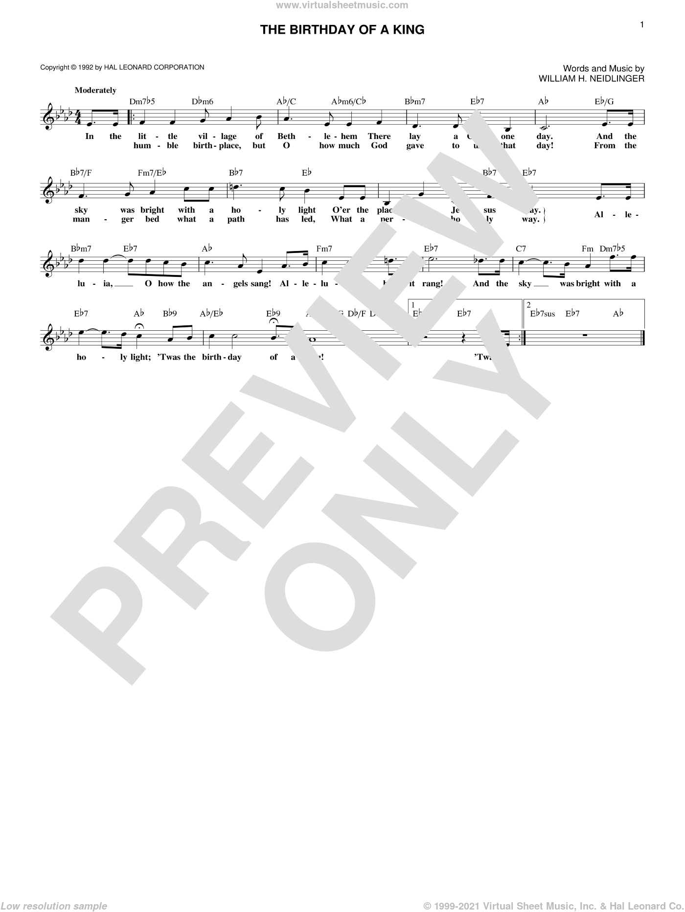 The Birthday Of A King sheet music for voice and other instruments (fake book) by William Harold Neidlinger, Christmas carol score, intermediate voice. Score Image Preview.