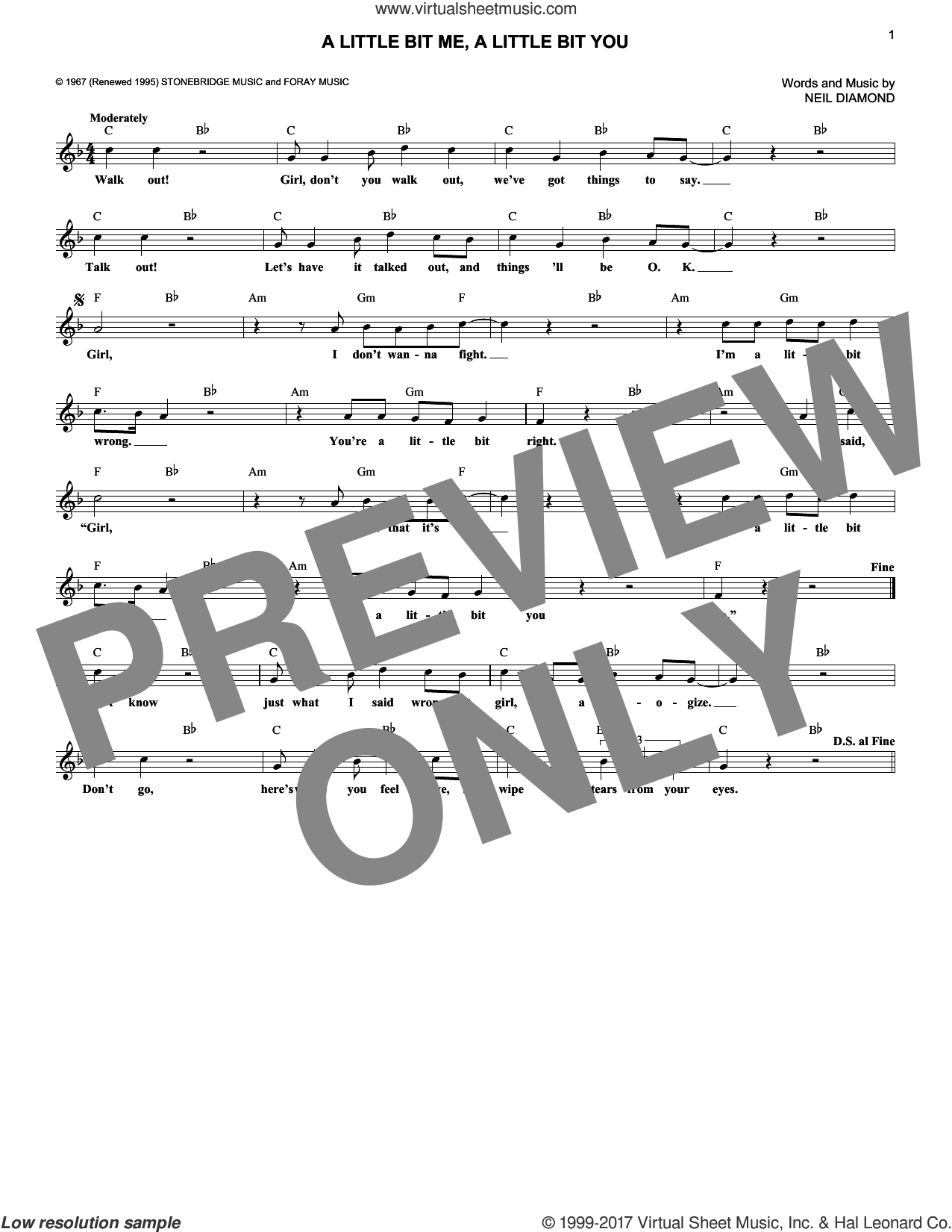 A Little Bit Me, A Little Bit You sheet music for voice and other instruments (fake book) by The Monkees and Neil Diamond, intermediate skill level