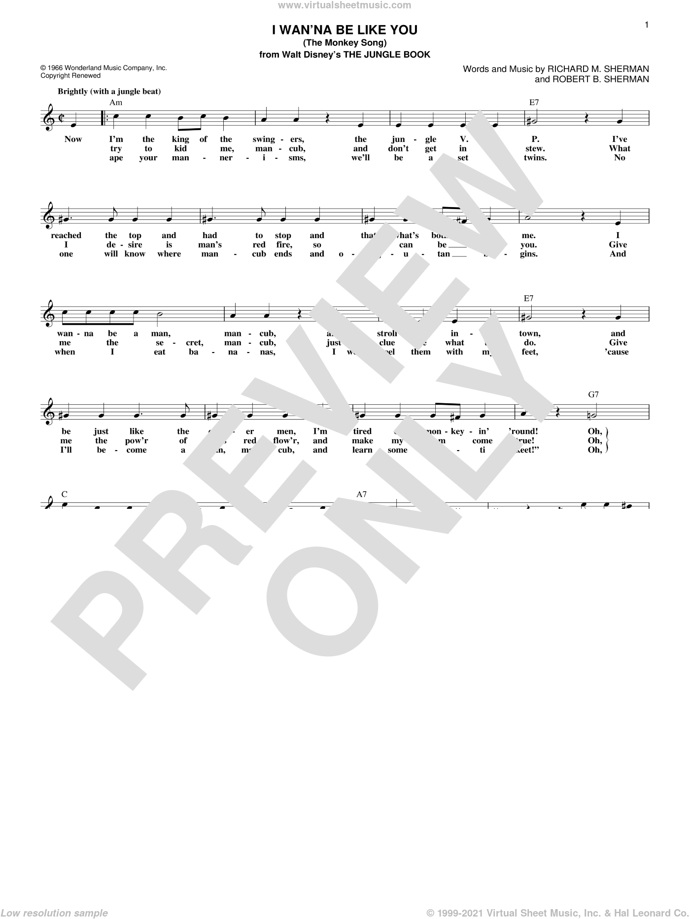 I Wan'na Be Like You (The Monkey Song) sheet music for voice and other instruments (fake book) by Robert B. Sherman and Richard M. Sherman, intermediate. Score Image Preview.