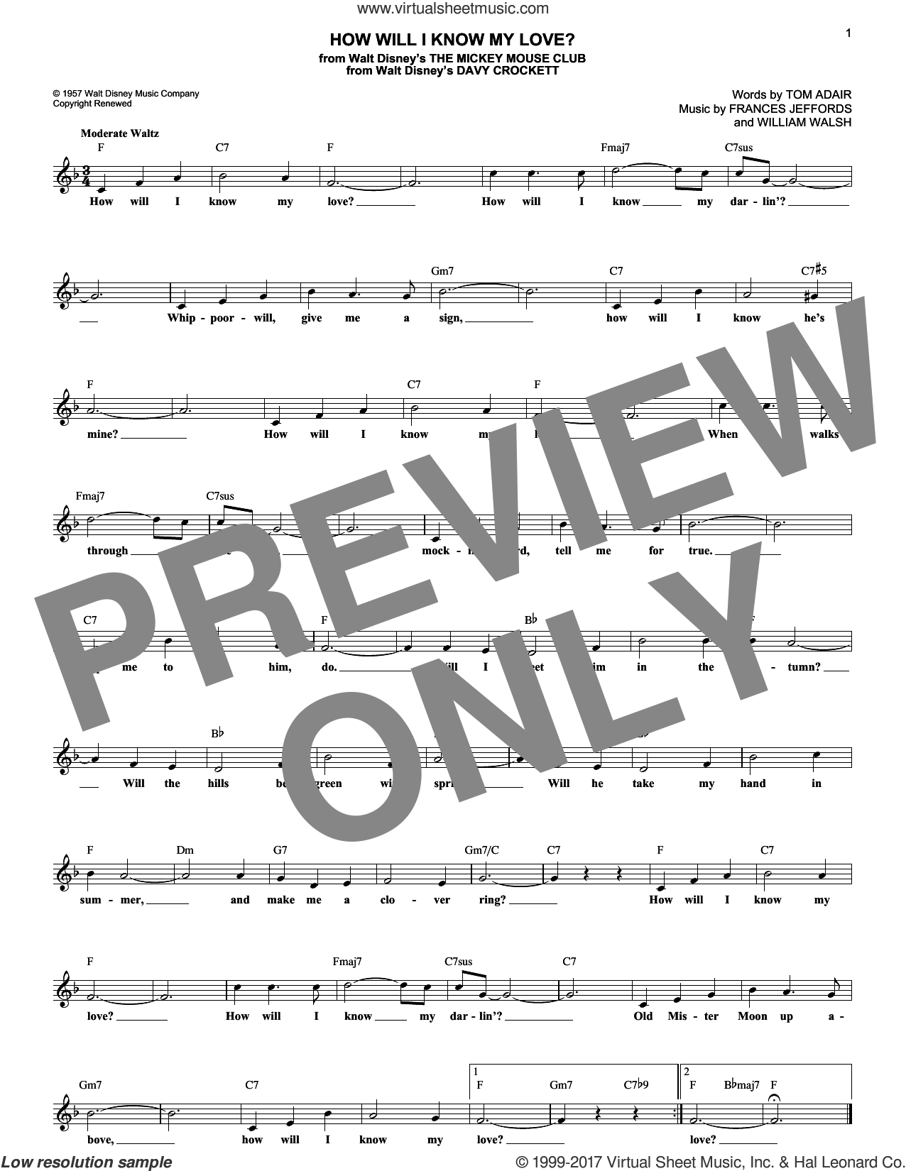 How Will I Know My Love? sheet music for voice and other instruments (fake book) by Tom Adair, Frances Jeffords and William Walsh, intermediate skill level