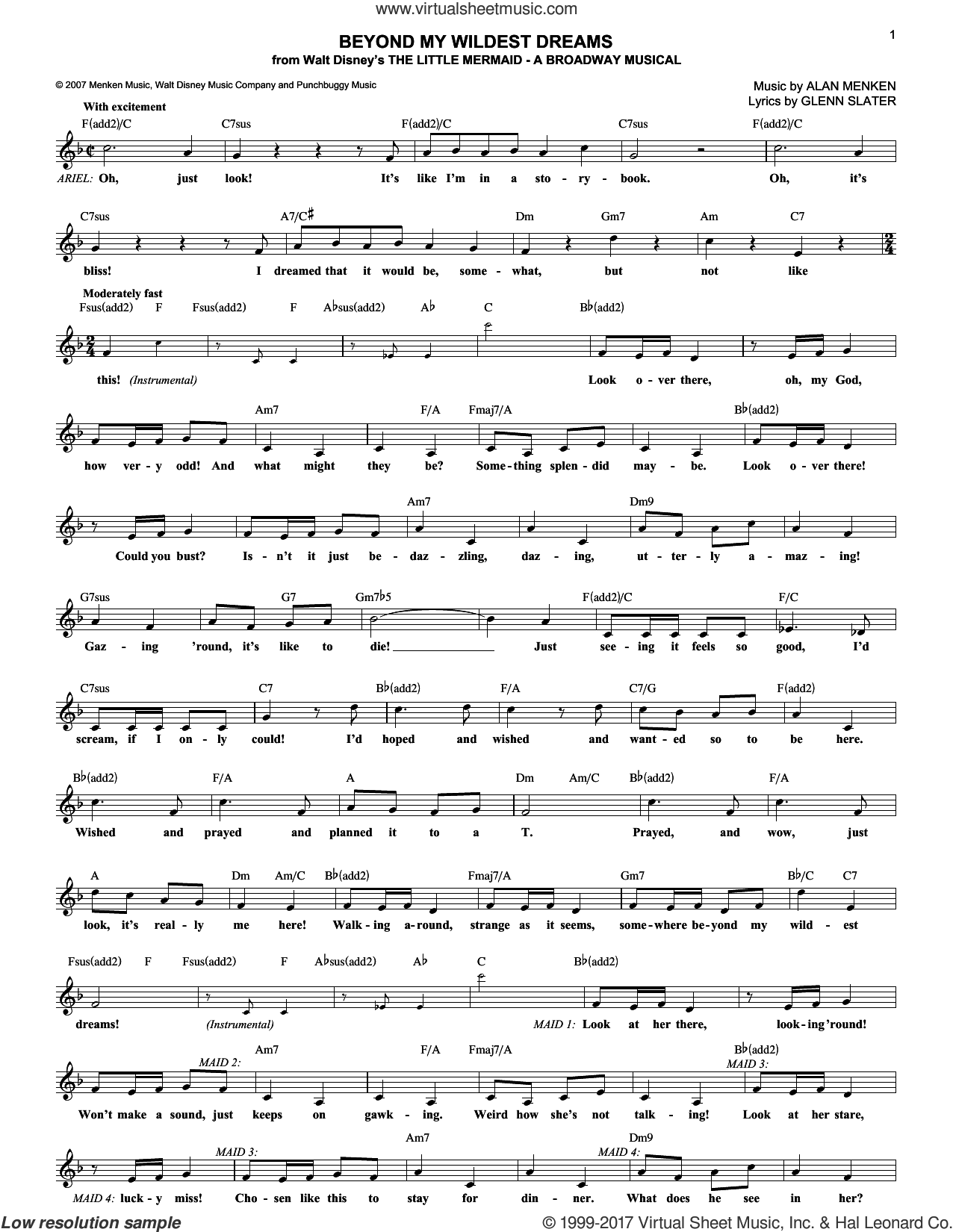 Beyond My Wildest Dreams sheet music for voice and other instruments (fake book) by Alan Menken and Glenn Slater, intermediate skill level