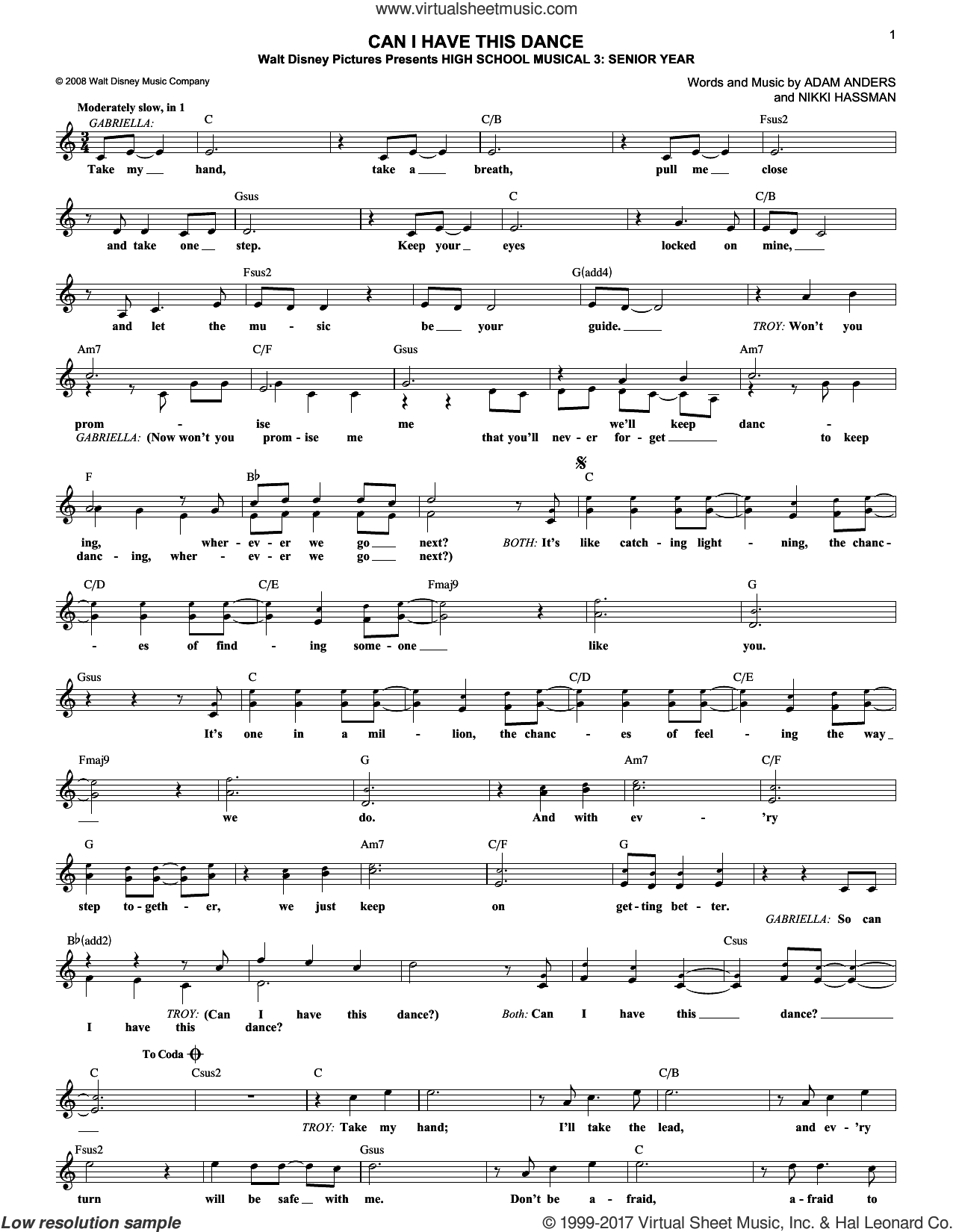 Can I Have This Dance sheet music for voice and other instruments (fake book) by Zac Efron & Vanessa Hudgens and Nikki Hassman. Score Image Preview.
