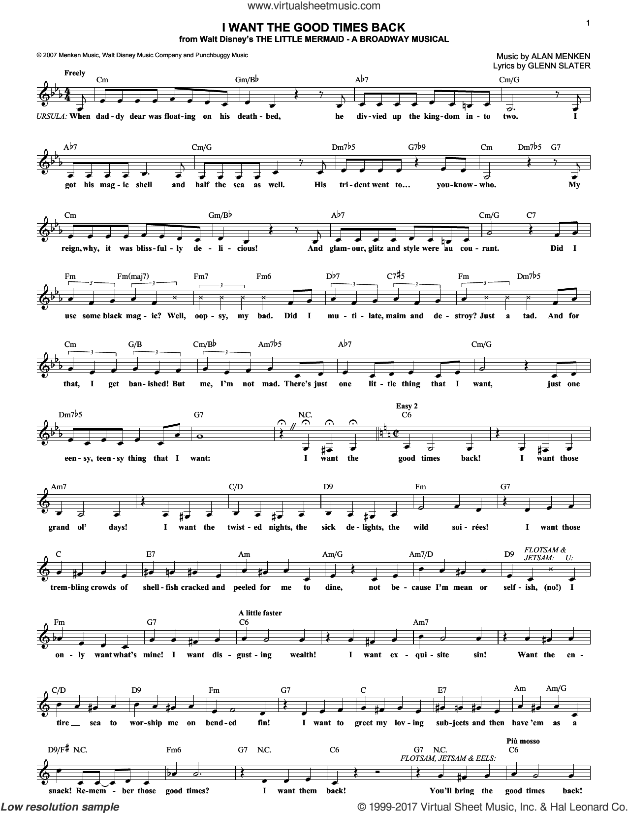 I Want The Good Times Back sheet music for voice and other instruments (fake book) by Glenn Slater and Alan Menken, intermediate. Score Image Preview.