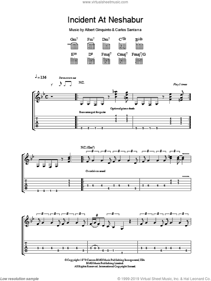 Incident At Neshabur sheet music for guitar (tablature) by Albert Ginquinto and Carlos Santana. Score Image Preview.