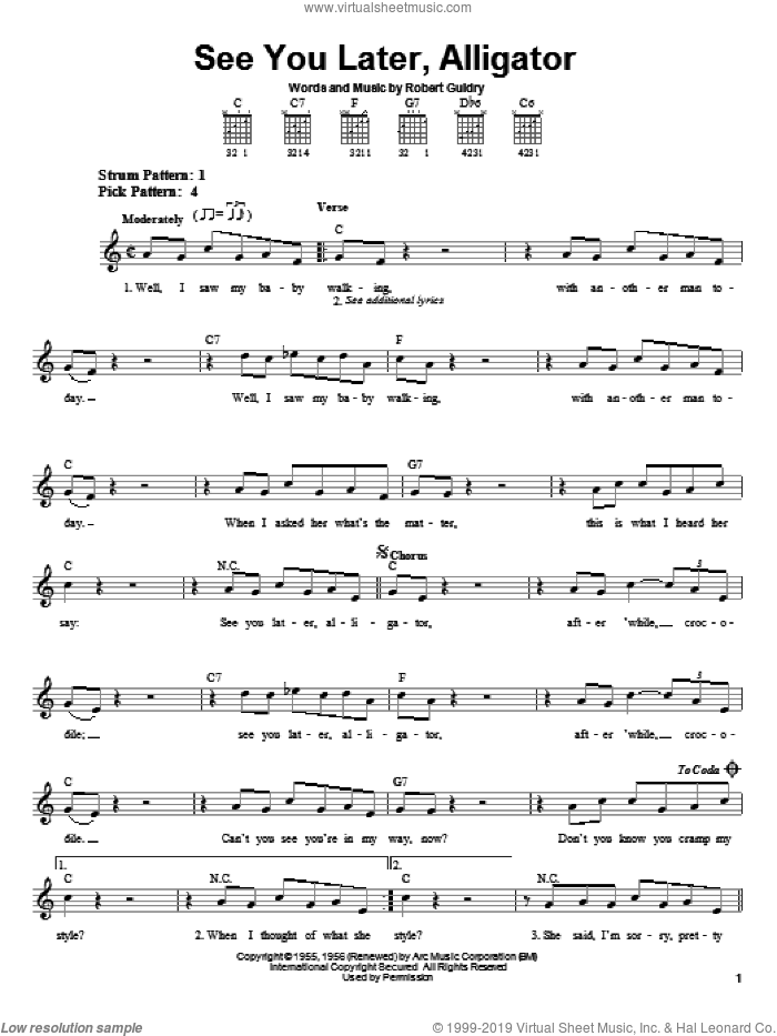 See You Later, Alligator sheet music for guitar solo (chords) by Bill Haley & His Comets and Robert Guidry, easy guitar (chords)