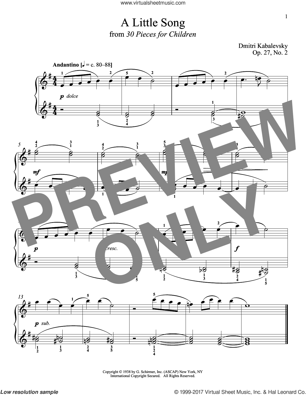 A Little Song, Op. 27, No. 2 sheet music for piano solo by Dmitri Kabalevsky and Richard Walters. Score Image Preview.