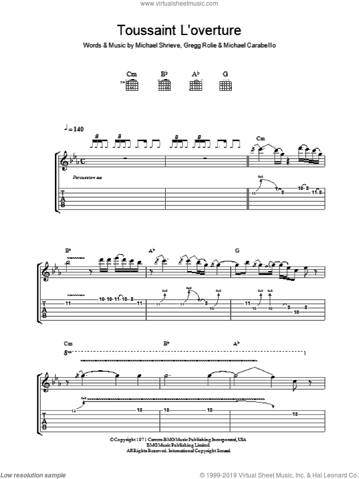 Toussaint L'Overture sheet music for guitar (tablature) by Carlos Santana, intermediate. Score Image Preview.