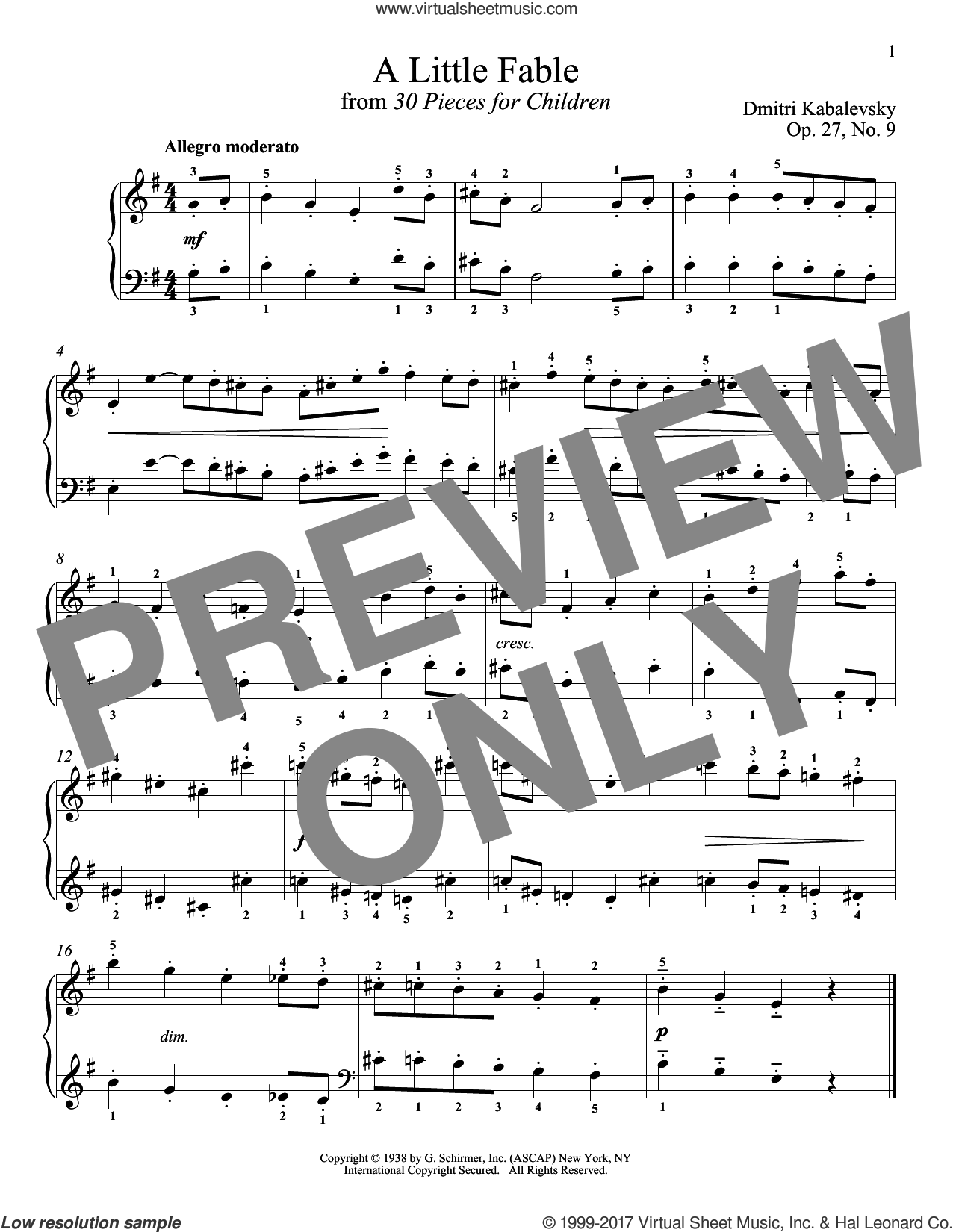 A Little Fable sheet music for piano solo by Dmitri Kabalevsky, Jeffrey Biegel, Margaret Otwell and Richard Walters, classical score, intermediate skill level
