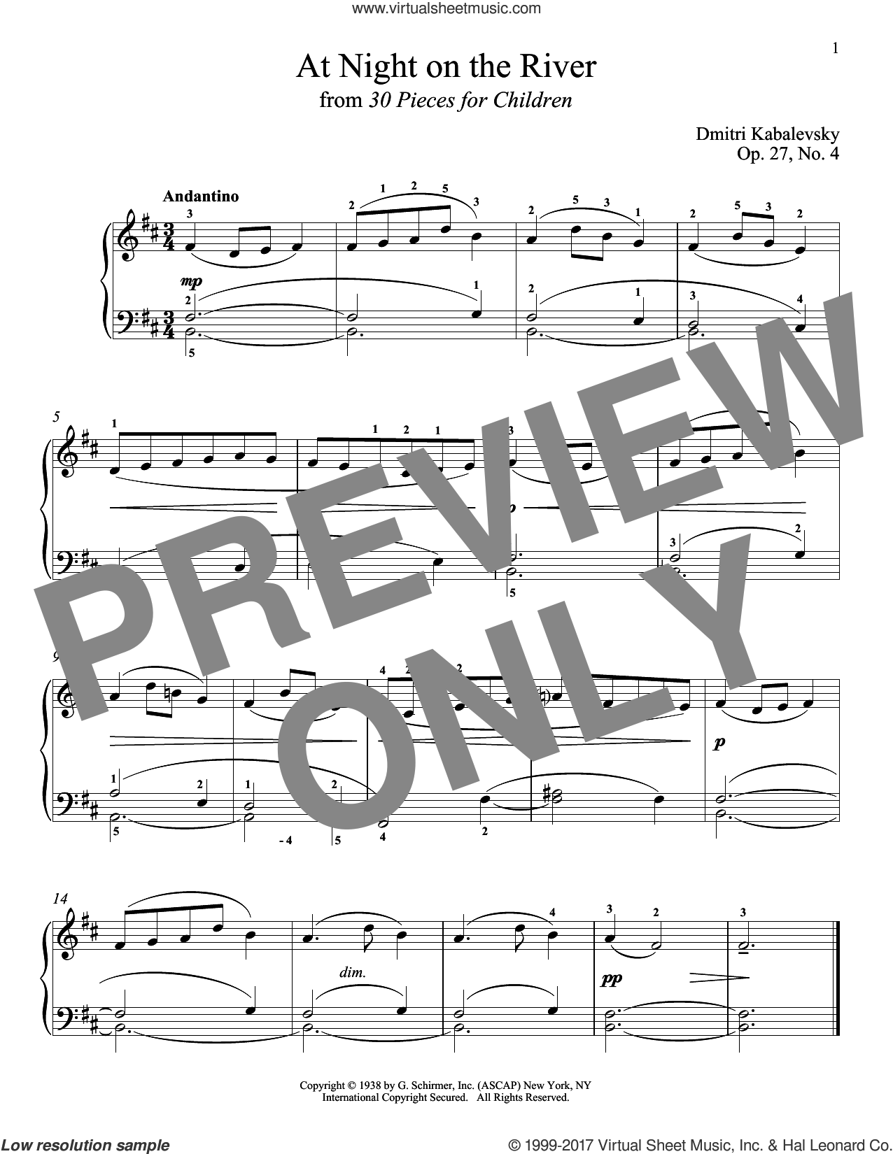 At Night On The River sheet music for piano solo by Dmitri Kabalevsky, Jeffrey Biegel, Margaret Otwell and Richard Walters, classical score, intermediate skill level